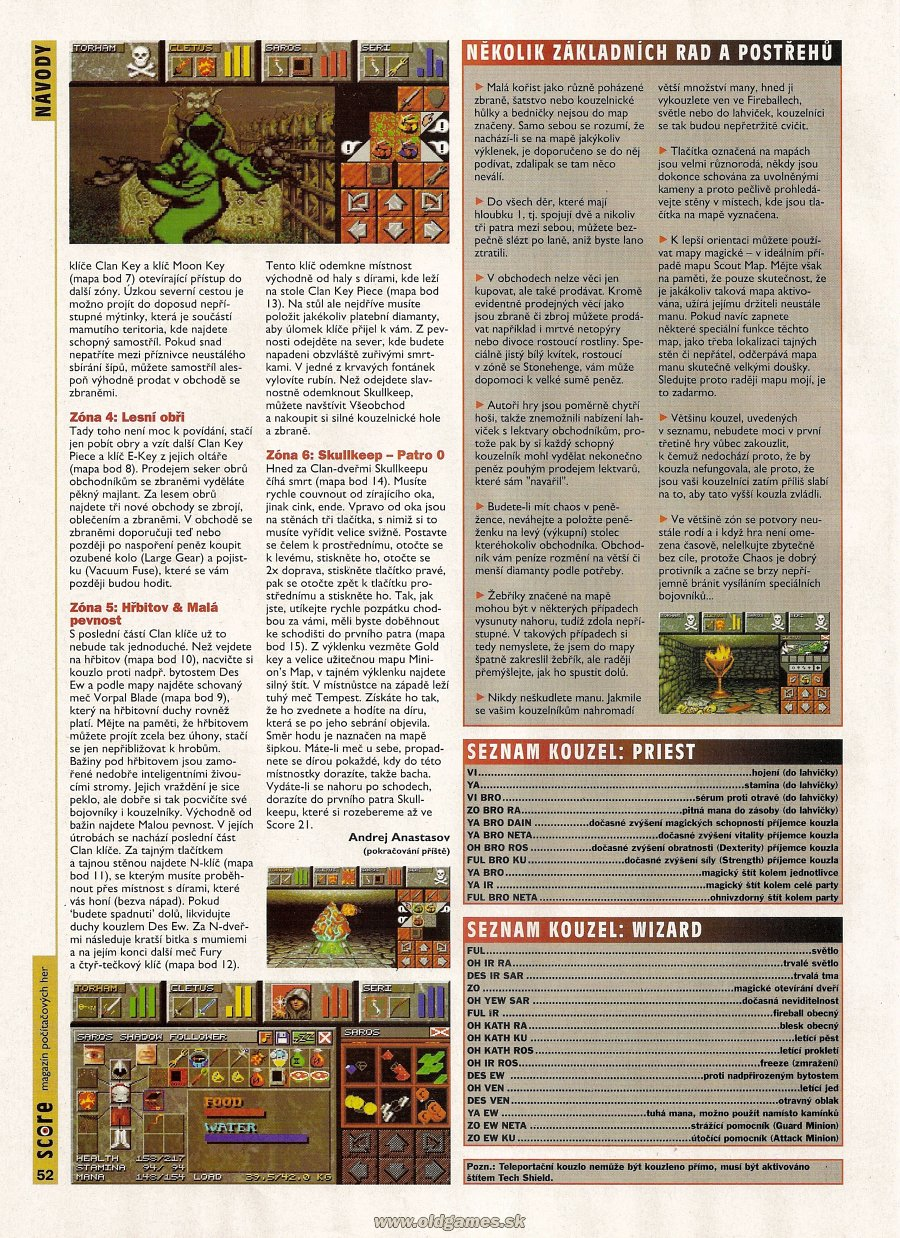 Dungeon Master II for PC Guide published in Czech magazine &amp;#039;Score&amp;#039;, Issue #20 August 1995, Page 52