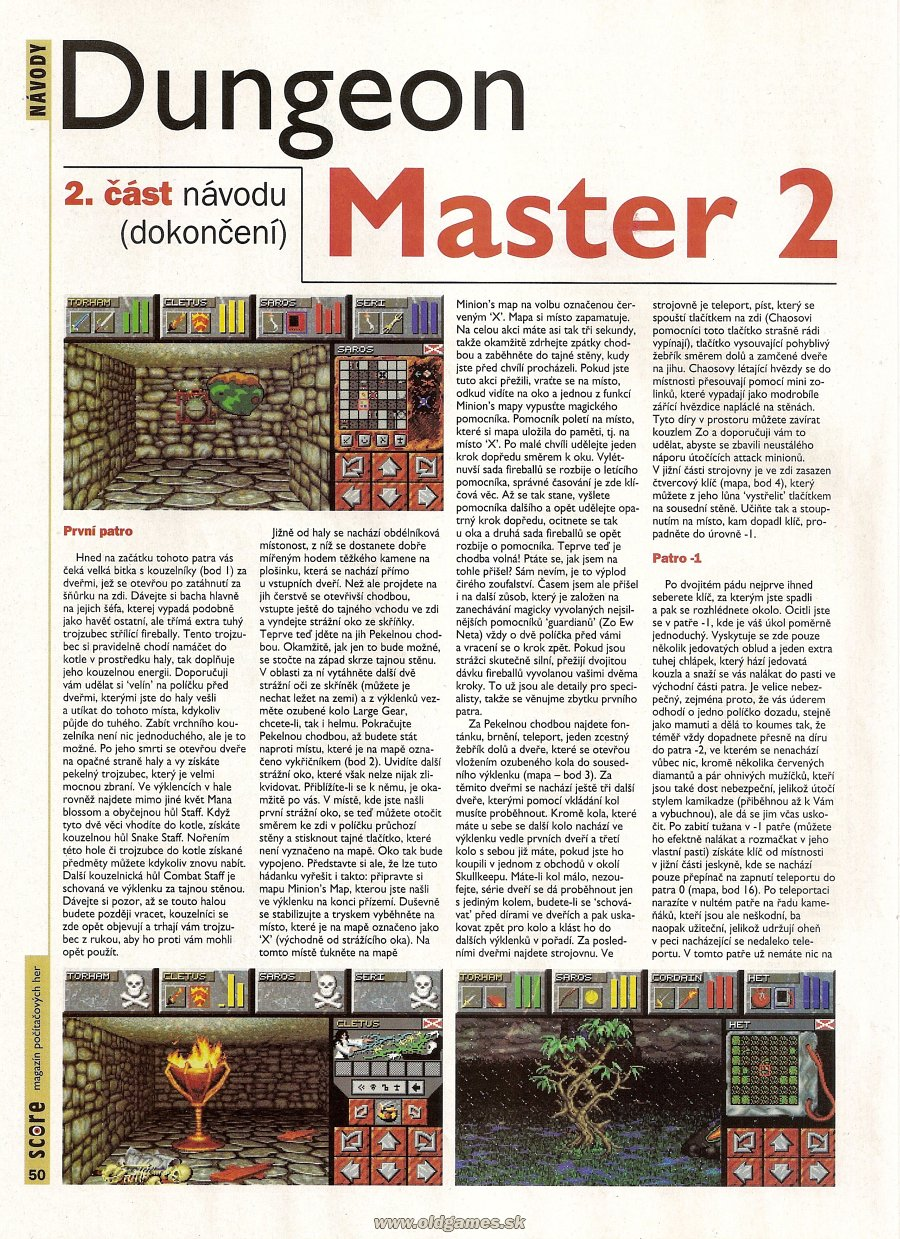 Dungeon Master II for PC Guide published in Czech magazine &amp;#039;Score&amp;#039;, Issue #21 September 1995, Page 50