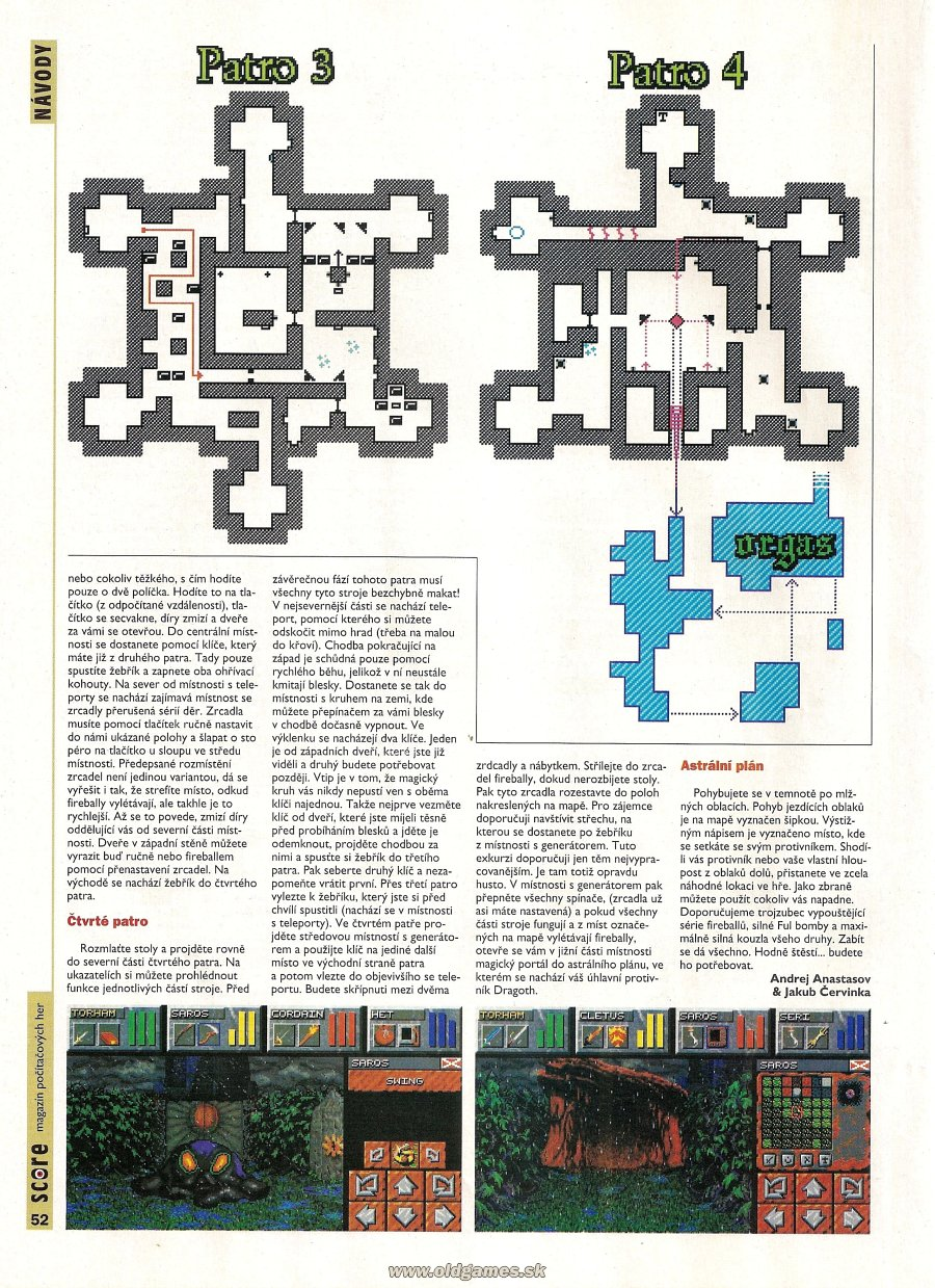 Dungeon Master II for PC Guide published in Czech magazine &amp;#039;Score&amp;#039;, Issue #21 September 1995, Page 52