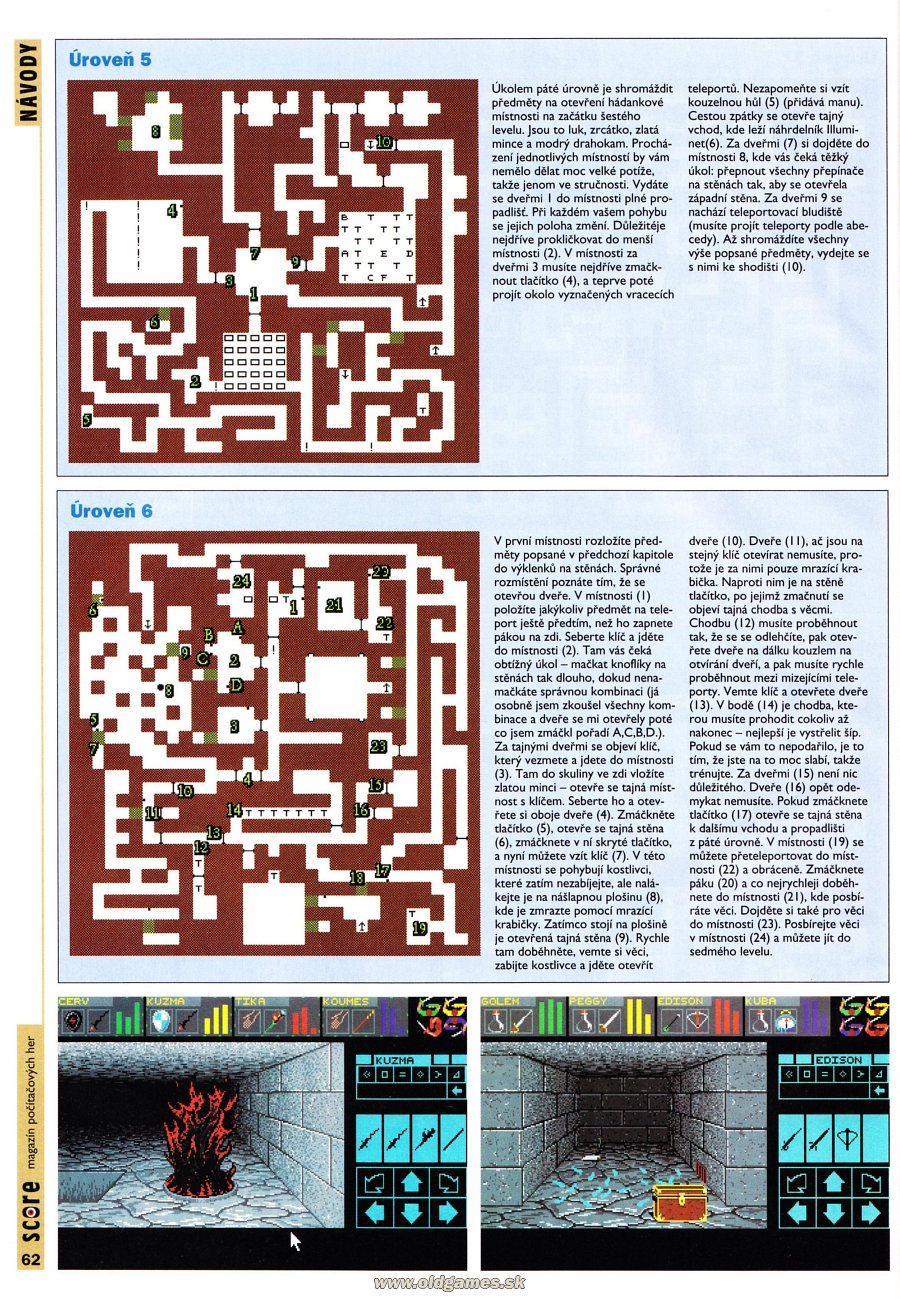 Dungeon Master for PC Guide published in Czech magazine 'Score', Issue #24 December 1995, Page 62