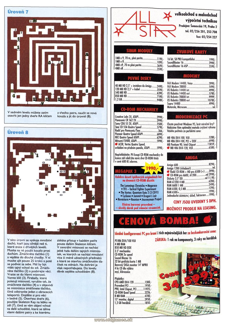 Dungeon Master for PC Guide published in Czech magazine 'Score', Issue #24 December 1995, Page 63