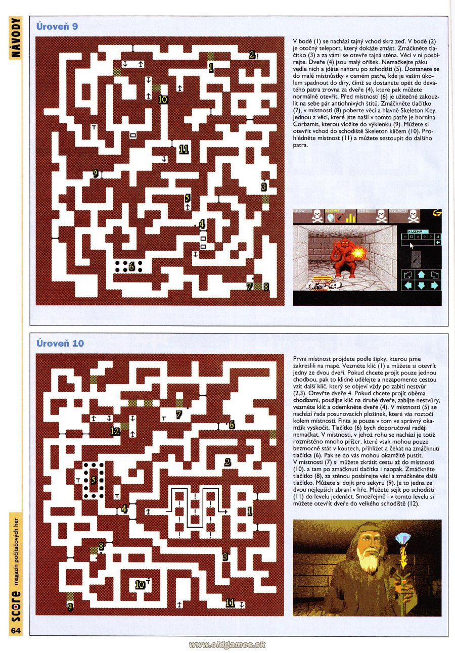 Dungeon Master for PC Guide published in Czech magazine 'Score', Issue #24 December 1995, Page 64