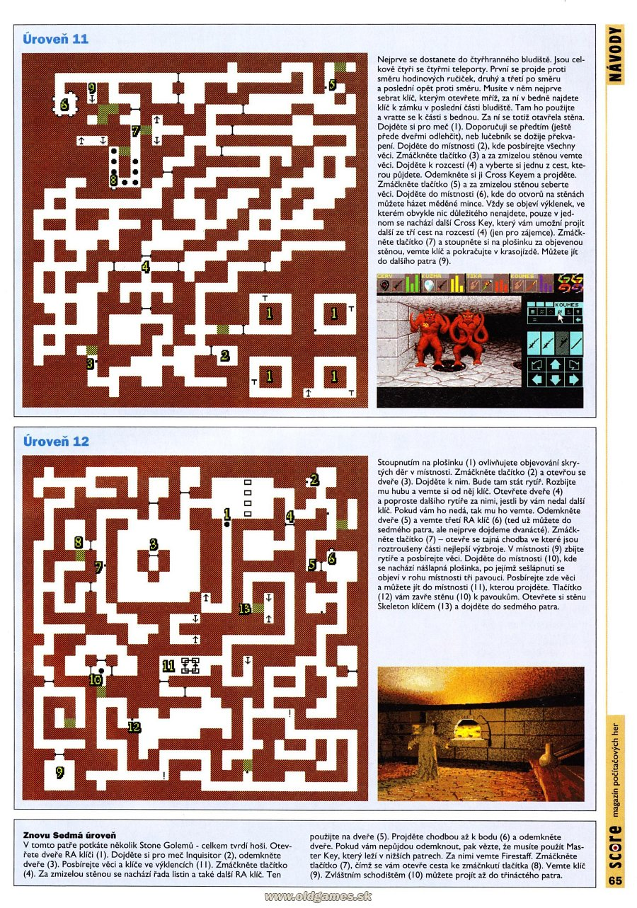 Dungeon Master for PC Guide published in Czech magazine 'Score', Issue #24 December 1995, Page 65