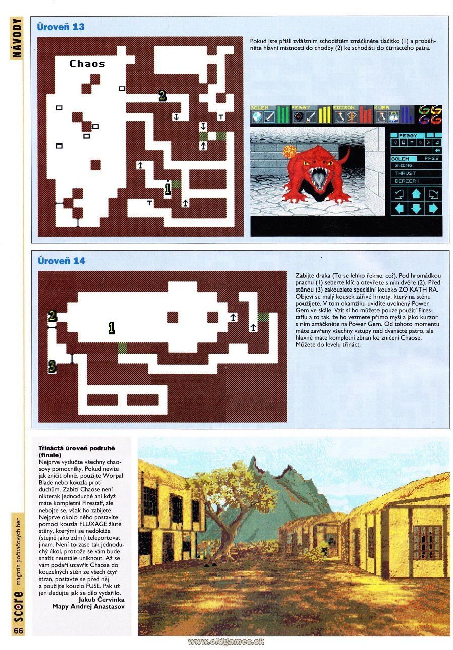 Dungeon Master for PC Guide published in Czech magazine 'Score', Issue #24 December 1995, Page 66