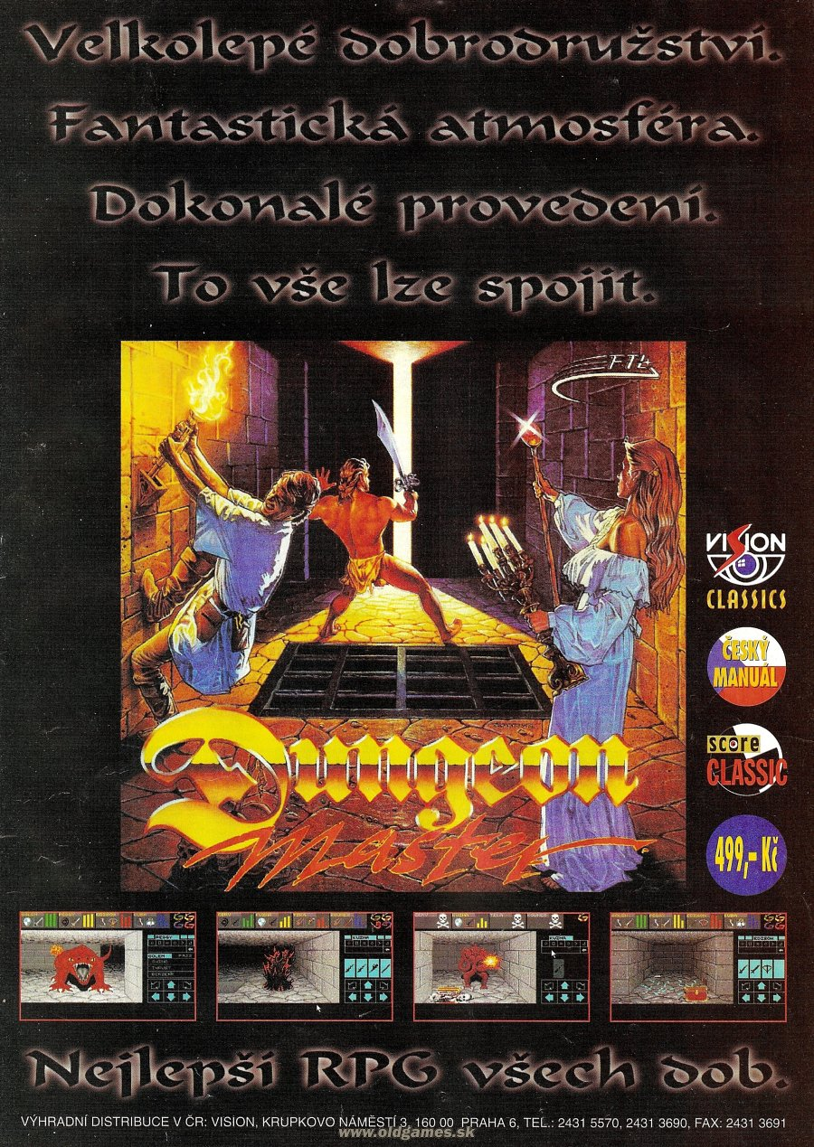 Dungeon Master Advertisement published in Czech magazine 'Score', Issue #25 January 1996, Page 41