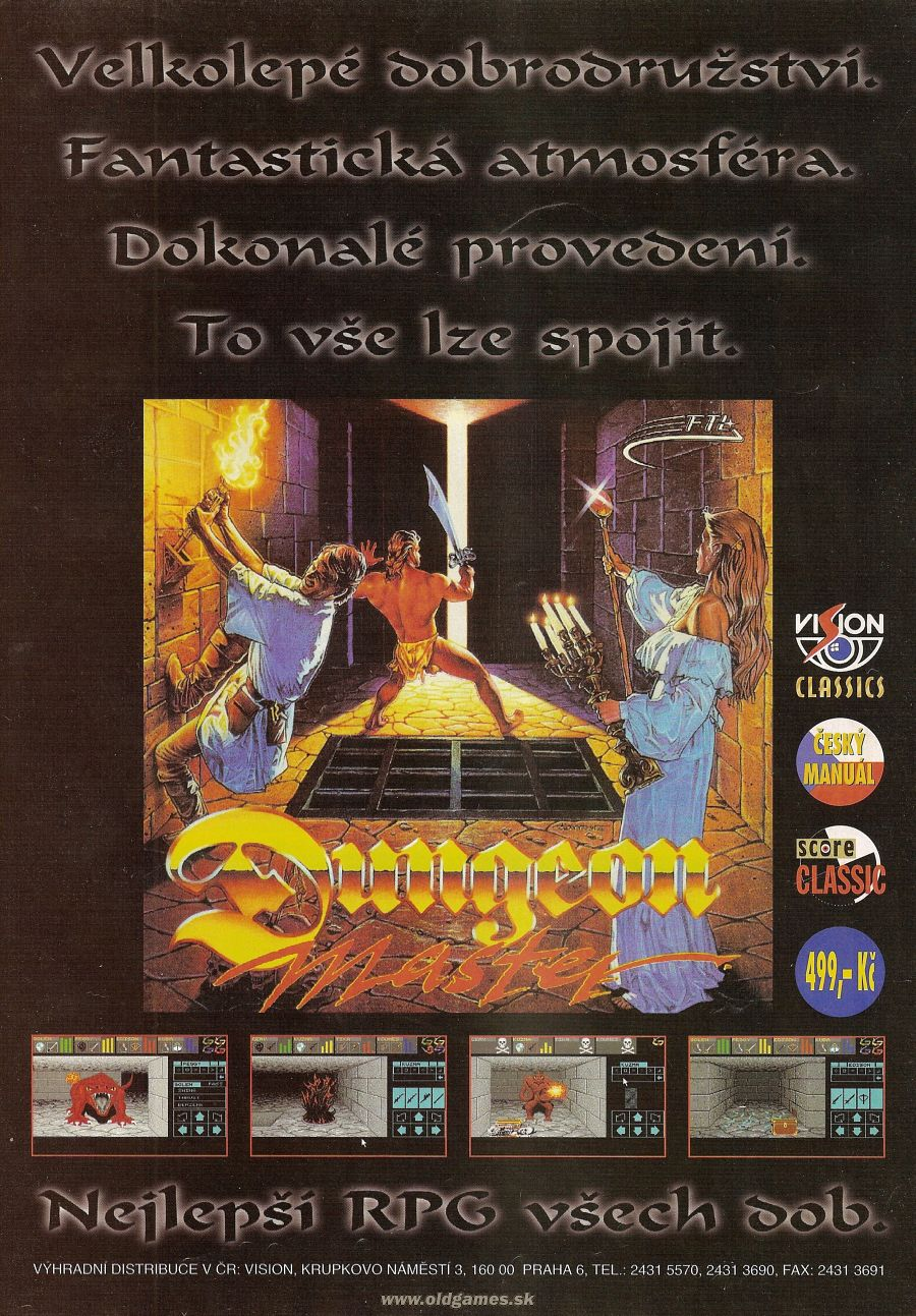 Dungeon Master Advertisement published in Czech magazine 'Score', Issue #26 February 1996, Page 47