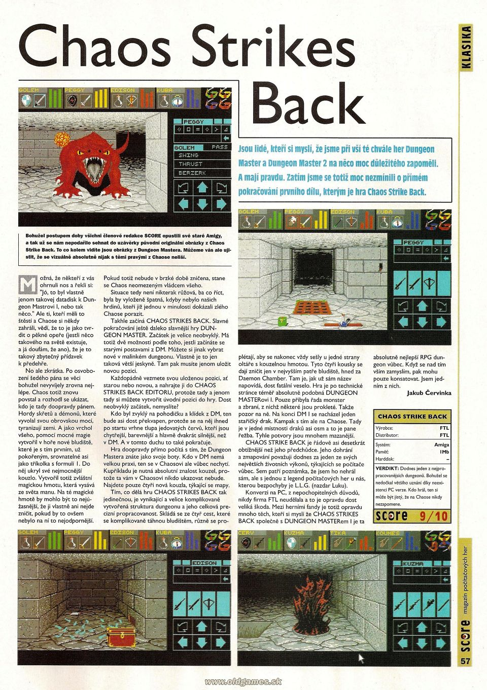 Chaos Strikes Back Review published in Czech magazine 'Score', Issue #27 March 1996, Page 57