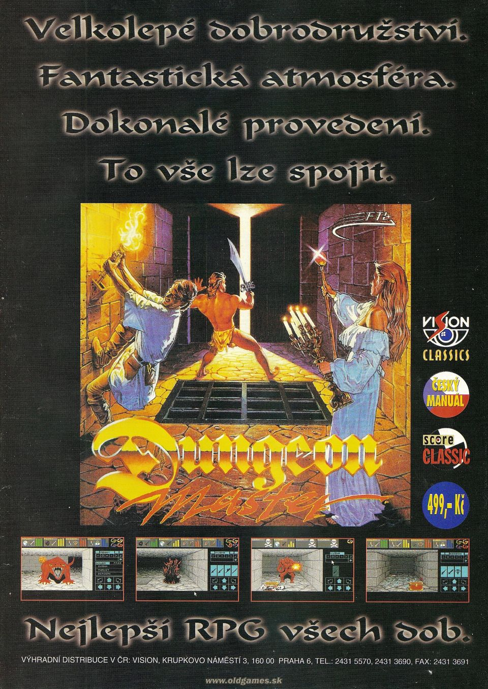 Dungeon Master Advertisement published in Czech magazine 'Score', Issue #29 May 1996, Page 65
