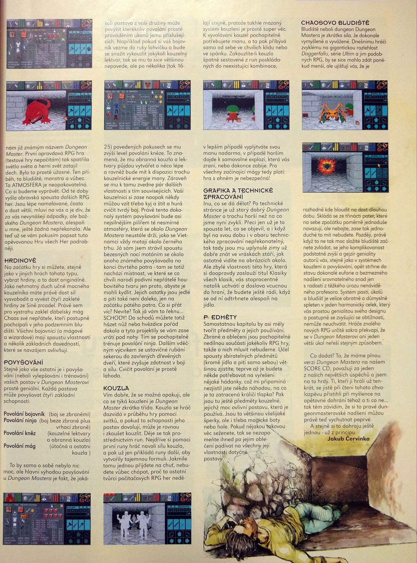 Dungeon Master for PC Article published in Czech magazine 'Score', Issue #62 February 1999, Page 9