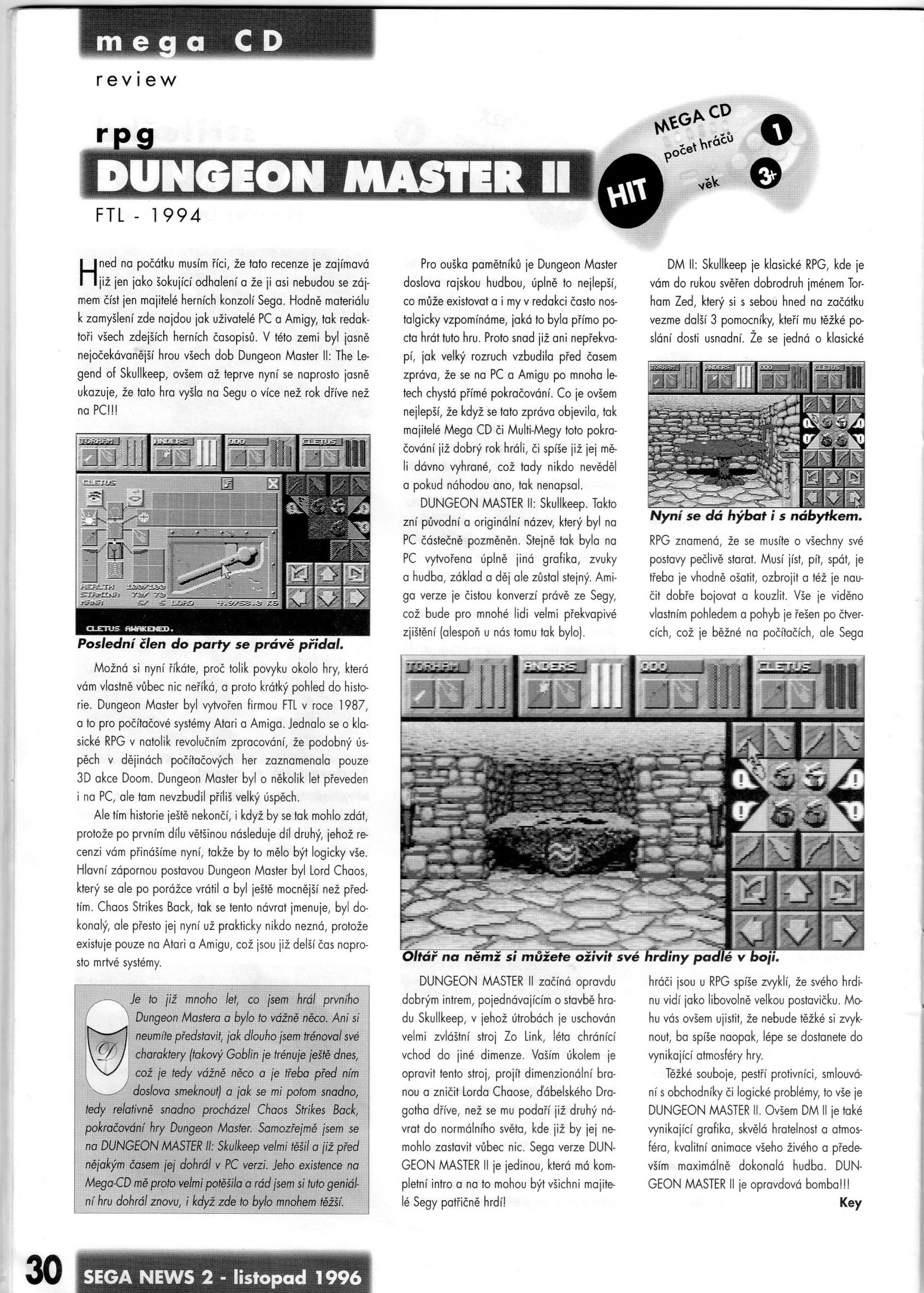 Dungeon Master II for Mega CD Review published in Czech magazine 'Sega News', Issue #2 November 1996, Page 30