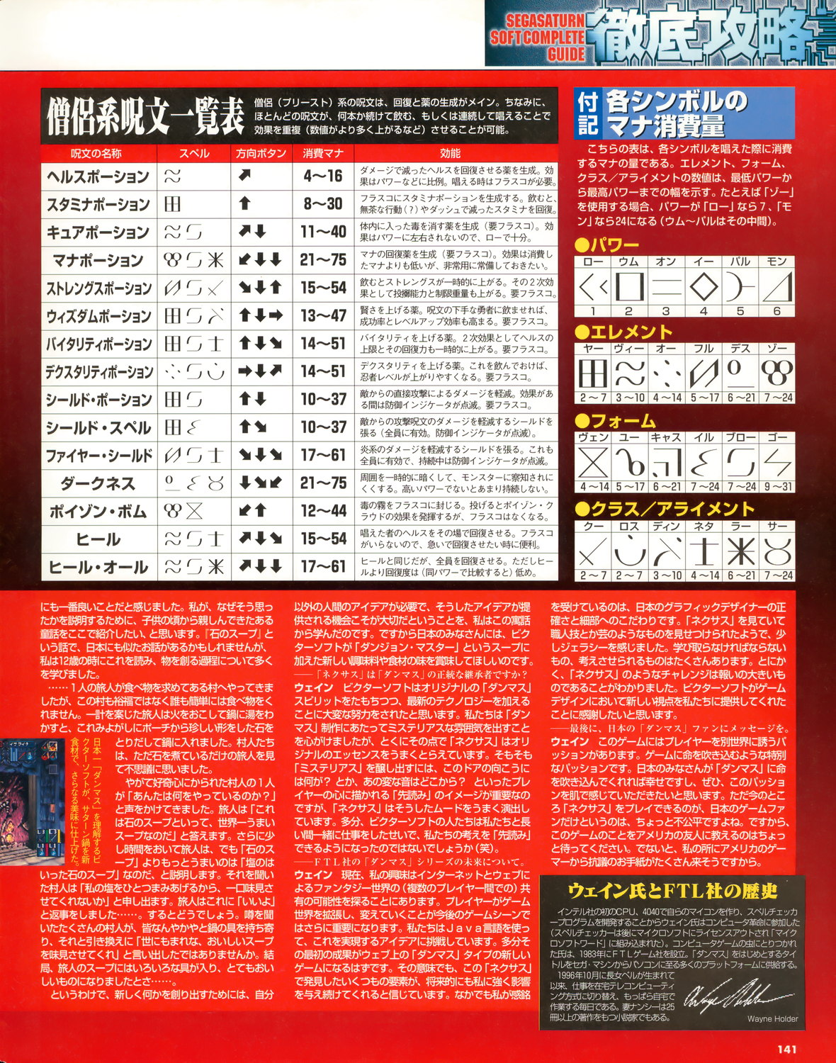 Dungeon Master Nexus Guide published in Japanese magazine 'Sega Saturn Magazine', Vol 12 24 April 1998, Page 141
