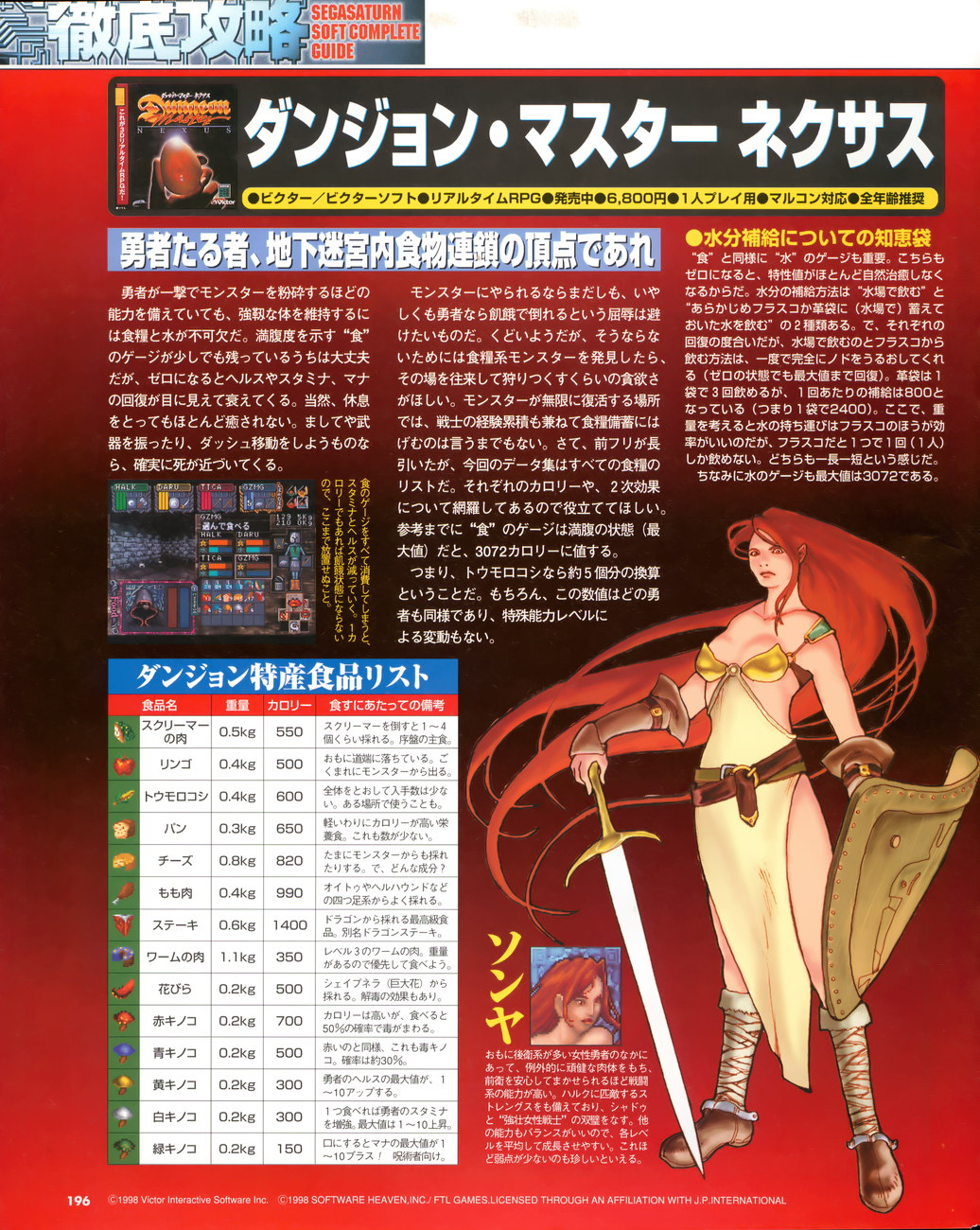 Dungeon Master Nexus Guide published in Japanese magazine 'Sega Saturn Magazine', Vol 14 08 May 1998, Page 196