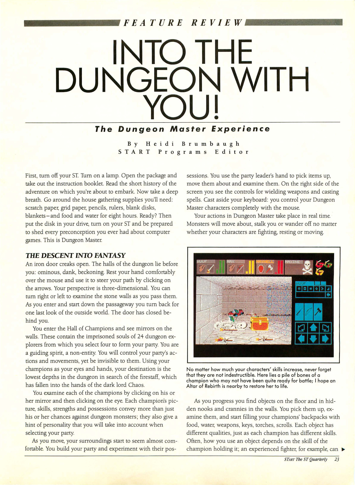 Dungeon Master for Atari ST Review published in American magazine 'Start', Vol 3 No 2 Special issue #4 September 1988, Page 23
