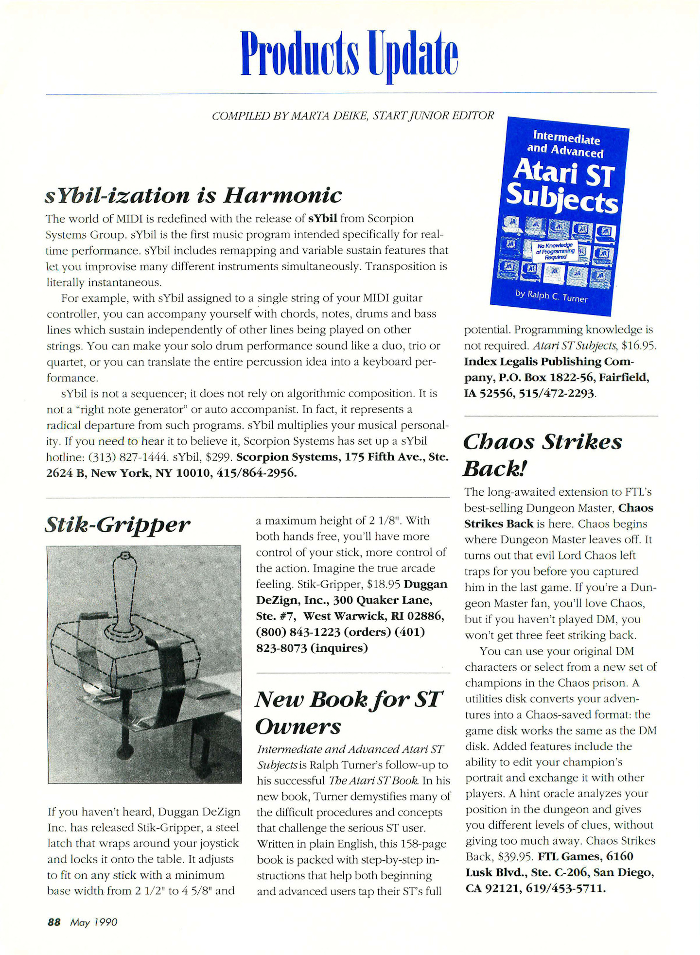Chaos Strikes Back for Atari ST Preview published in American magazine 'Start', Vol 4 No 10 May 1990, Page 88