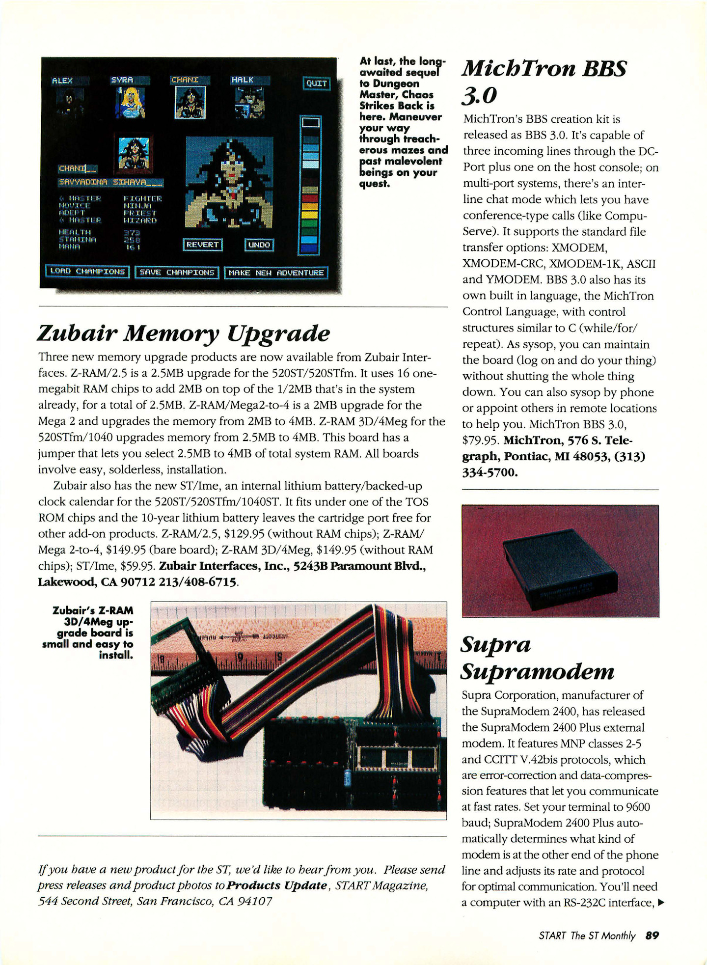 Chaos Strikes Back for Atari ST Preview published in American magazine 'Start', Vol 4 No 10 May 1990, Page 89