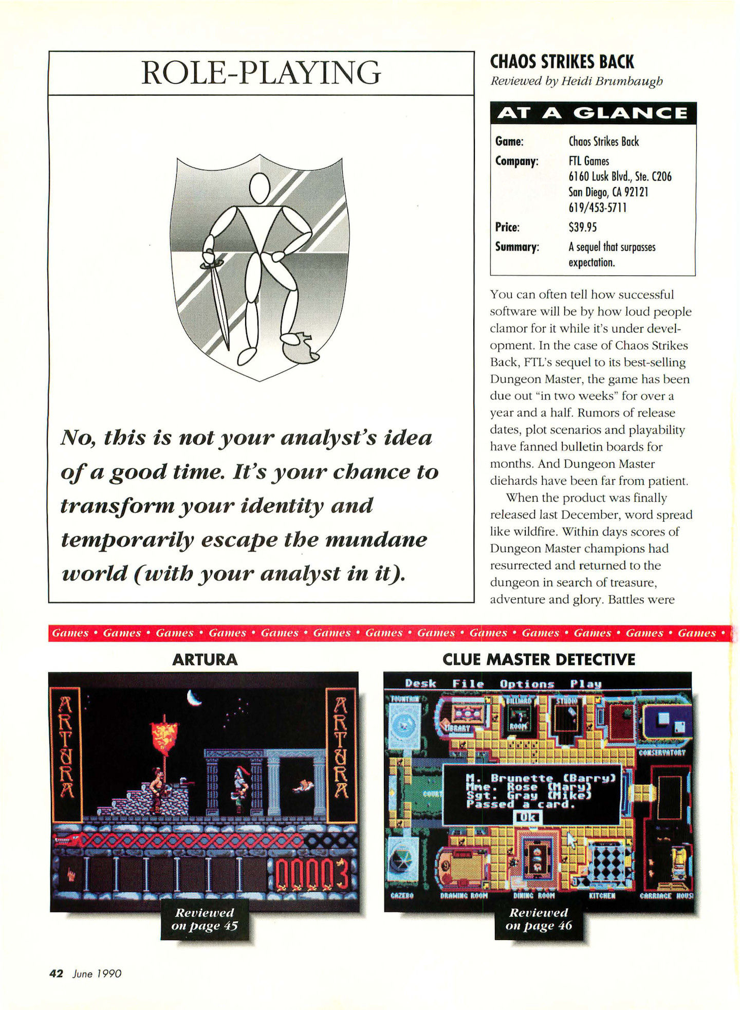 Chaos Strikes Back for Atari ST Review published in American magazine 'Start', Vol 4 No 11 June 1990, Page 42
