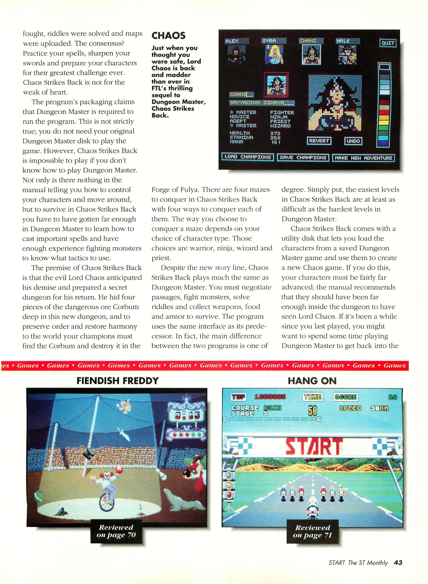 Chaos Strikes Back for Atari ST Review published in American magazine 'Start', Vol 4 No 11 June 1990, Page 43