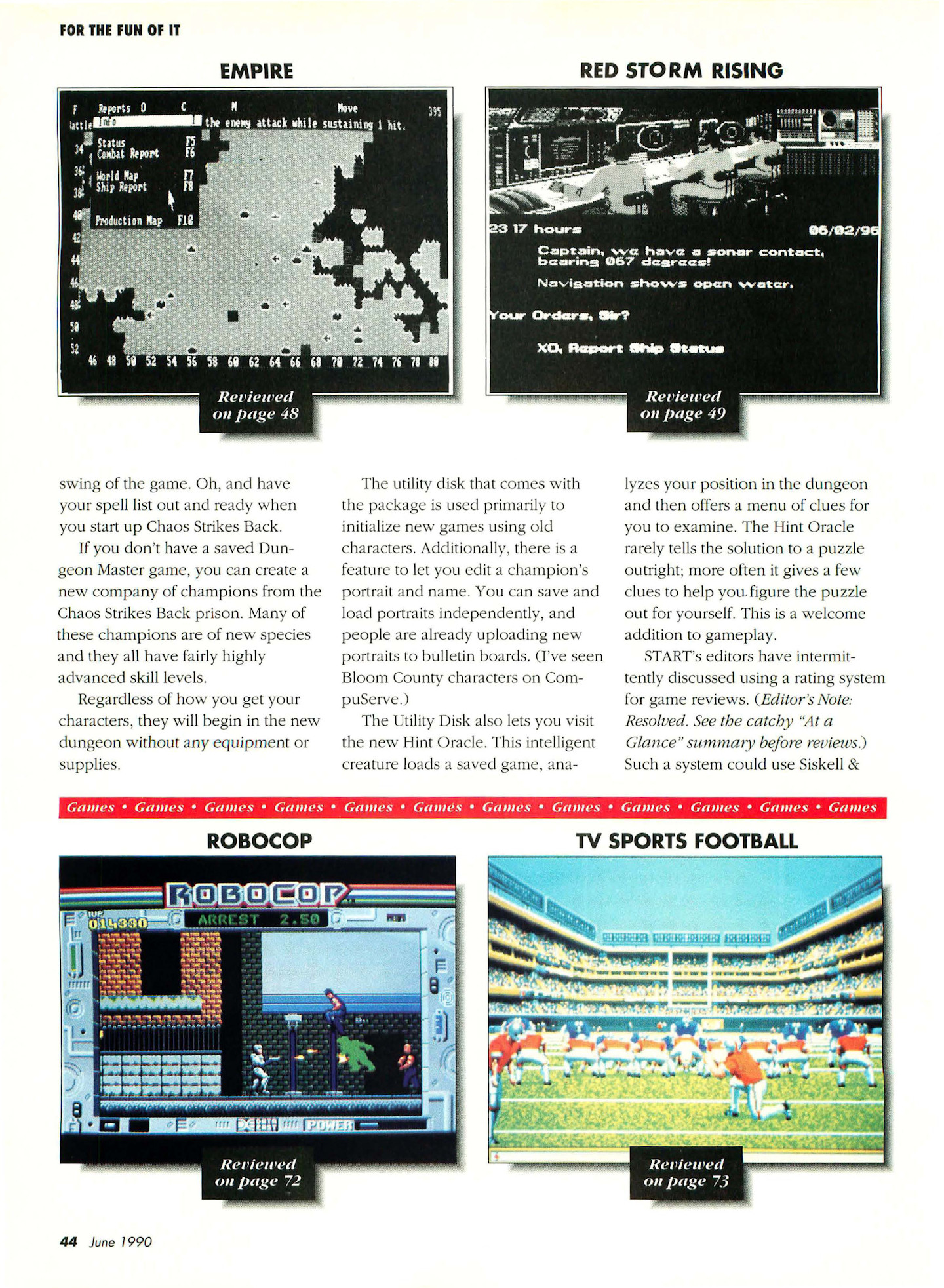 Chaos Strikes Back for Atari ST Review published in American magazine 'Start', Vol 4 No 11 June 1990, Page 44