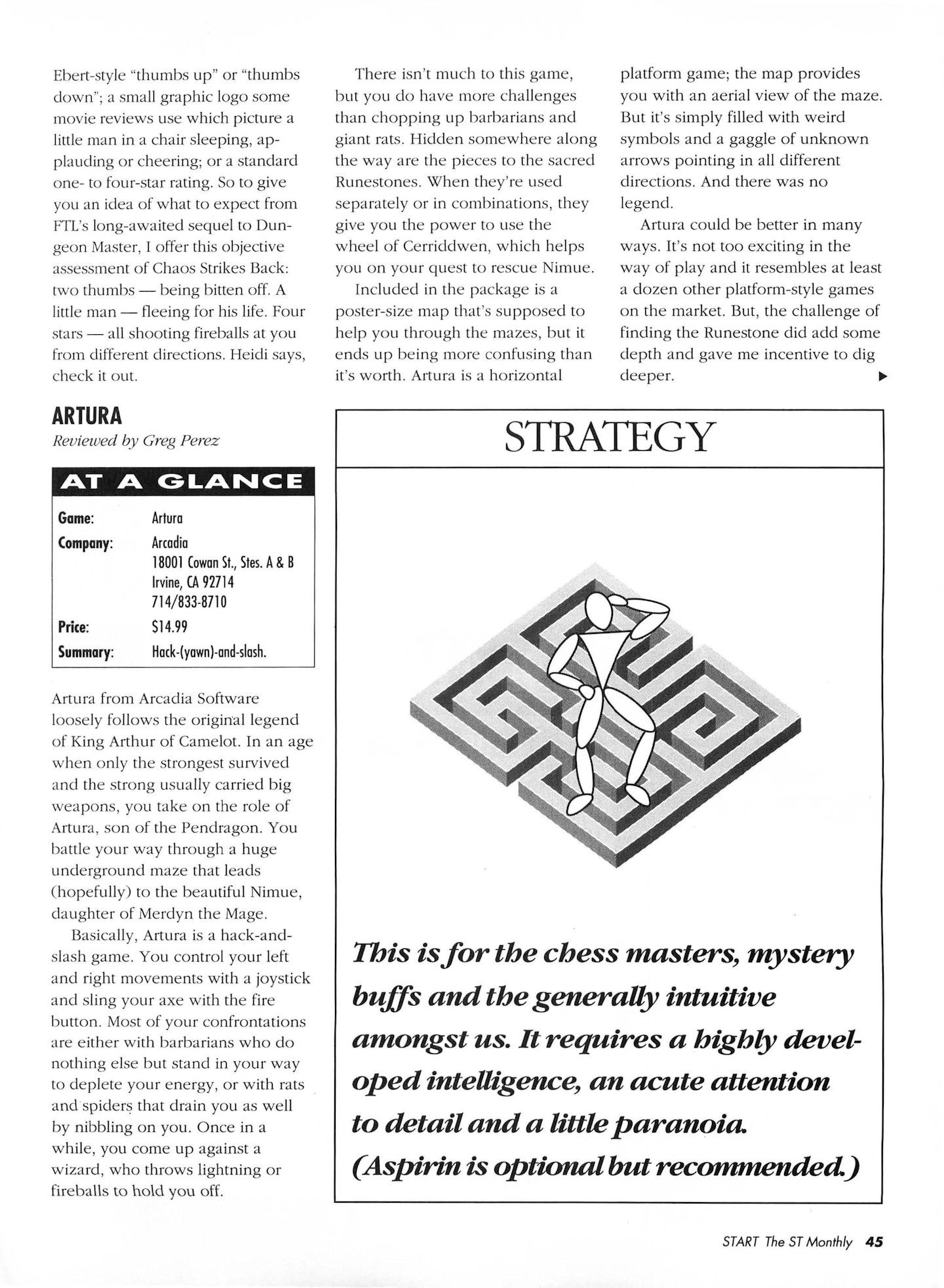 Chaos Strikes Back for Atari ST Review published in American magazine 'Start', Vol 4 No 11 June 1990, Page 45