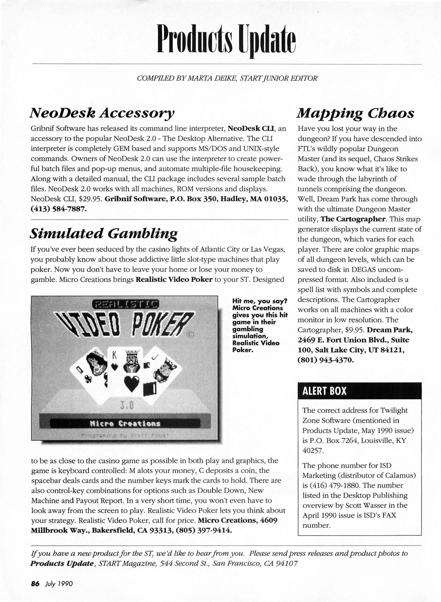 The Cartographer for Atari ST Preview published in American magazine 'Start', Vol 4 No 12 July 1990, Page 86