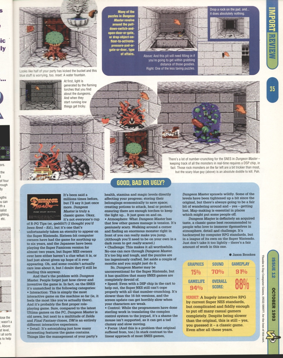 Dungeon Master for Super NES Review published in British magazine 'Super Play', Issue #12 October 1993, Page 35