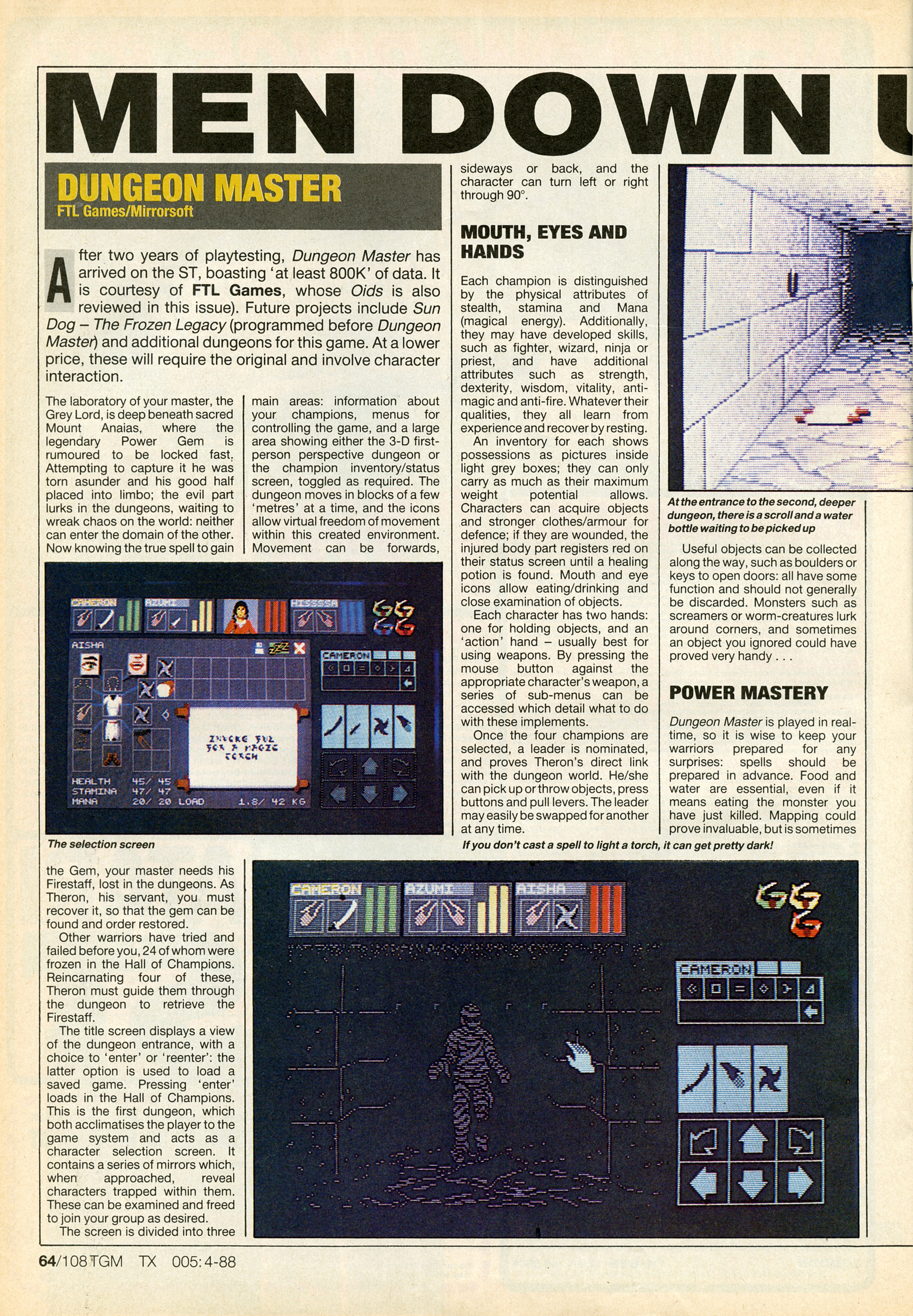 Dungeon Master for Atari ST Review published in British magazine 'The Game Machine', Issue #5, April 1988, Page 64