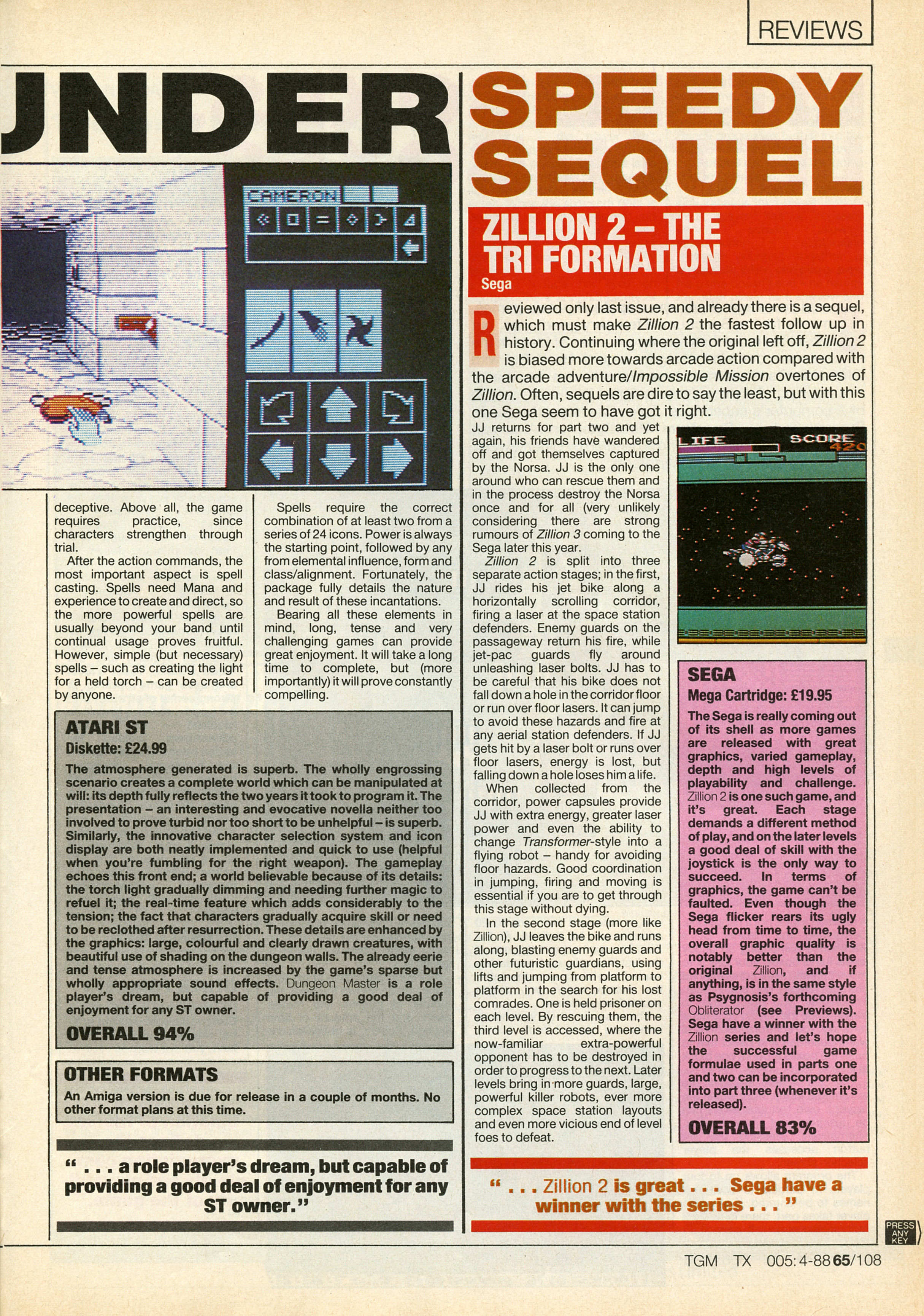 Dungeon Master for Atari ST Review published in British magazine 'The Game Machine', Issue #5, April 1988, Page 65