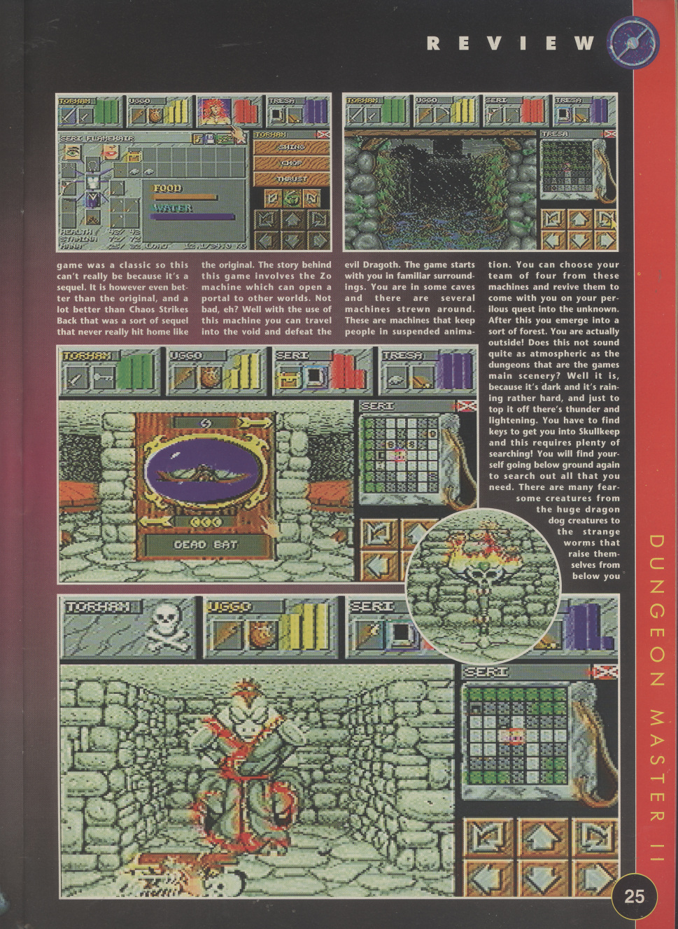 Dungeon Master II for Amiga Review published in British magazine 'The One Amiga', Issue #85 November 1995, Page 25