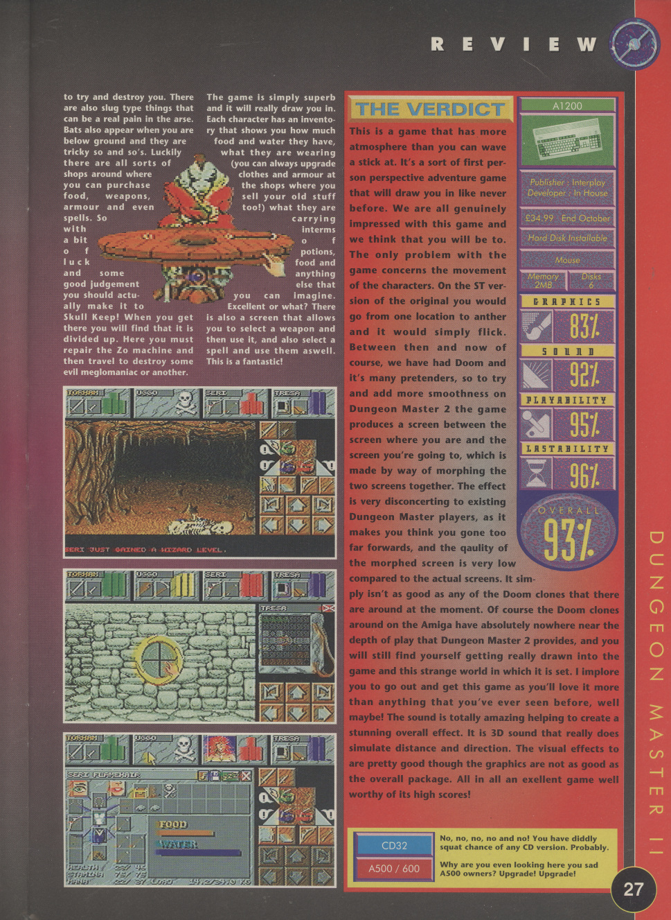 Dungeon Master II for Amiga Review published in British magazine 'The One Amiga', Issue #85 November 1995, Page 27