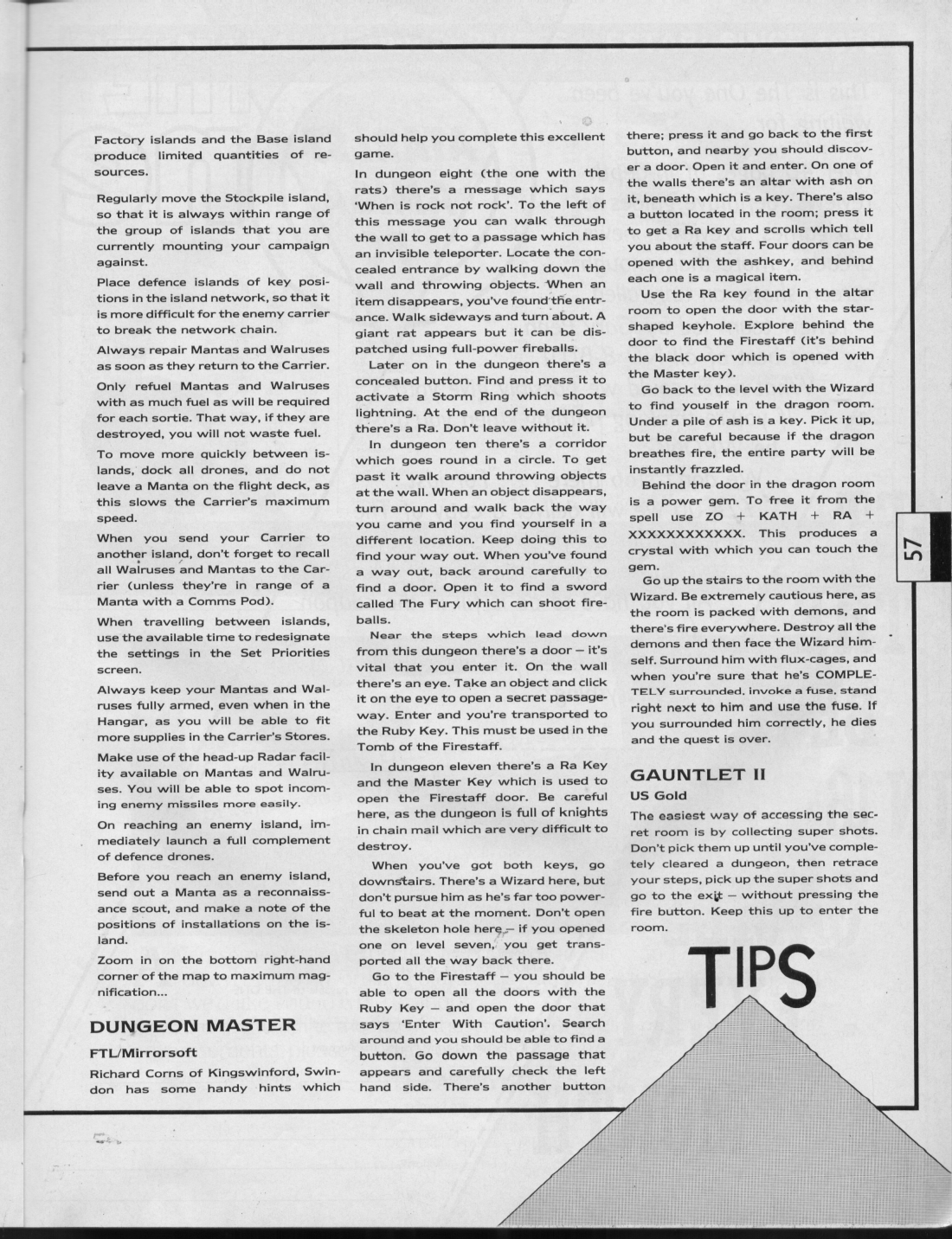 Dungeon Master Hints published in British magazine 'The One for 16-bits games', Issue #1 October 1988, Page 57