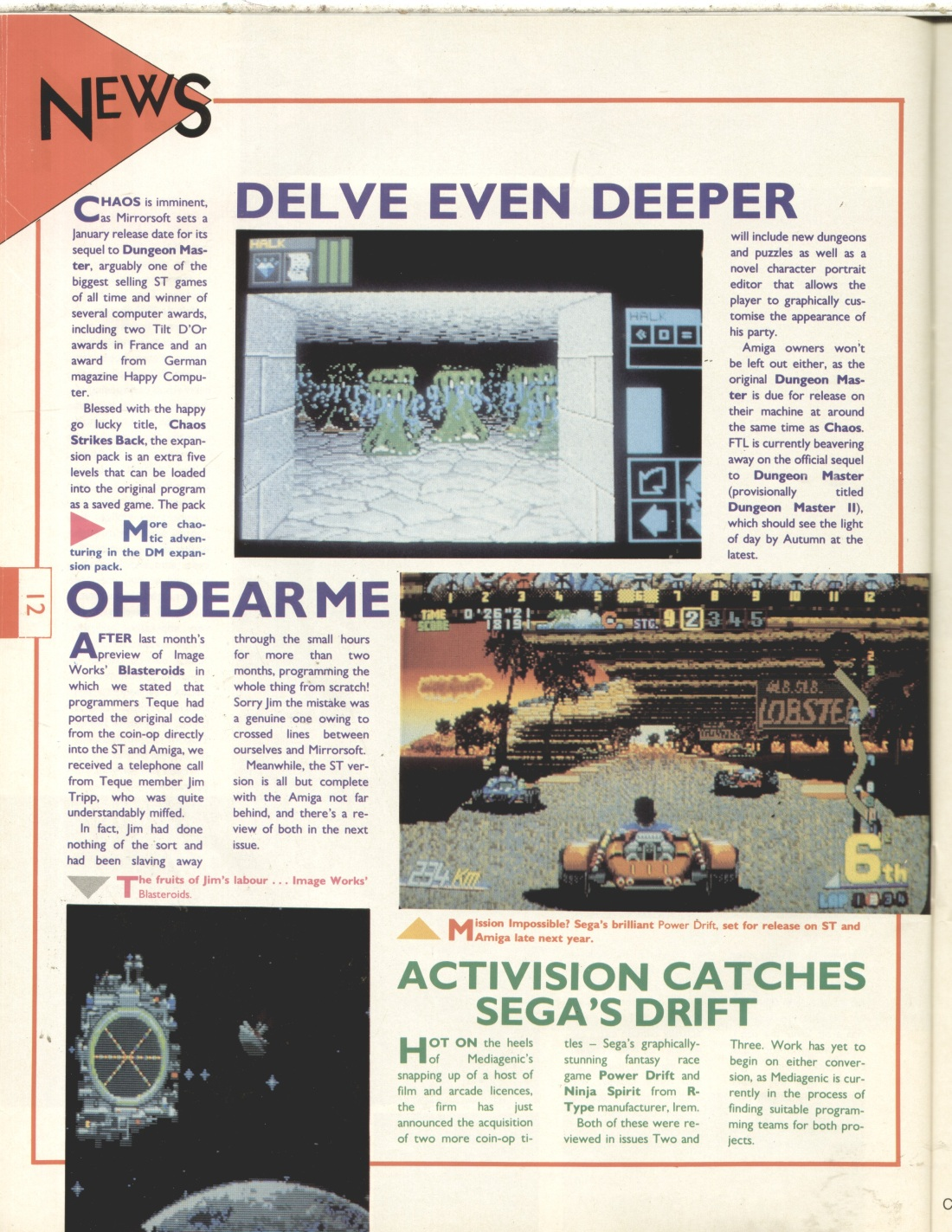 Chaos Strikes Back for Amiga Preview published in British magazine 'The One for 16-bits games', Issue #4 January 1989, Page 12