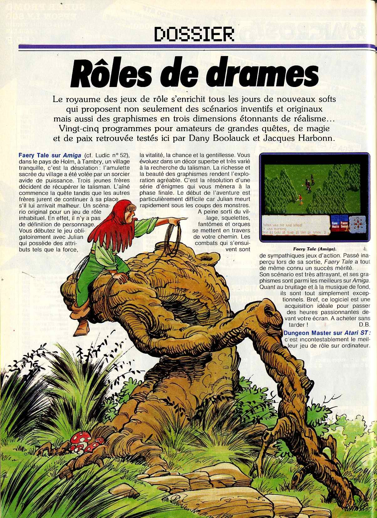 Dungeon Master for Atari ST Article published in French magazine 'Tilt', Issue #53 April 1988, Page 78