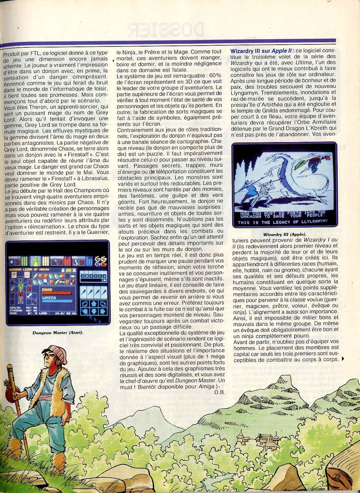 Dungeon Master for Atari ST Article published in French magazine 'Tilt', Issue #53 April 1988, Page 79