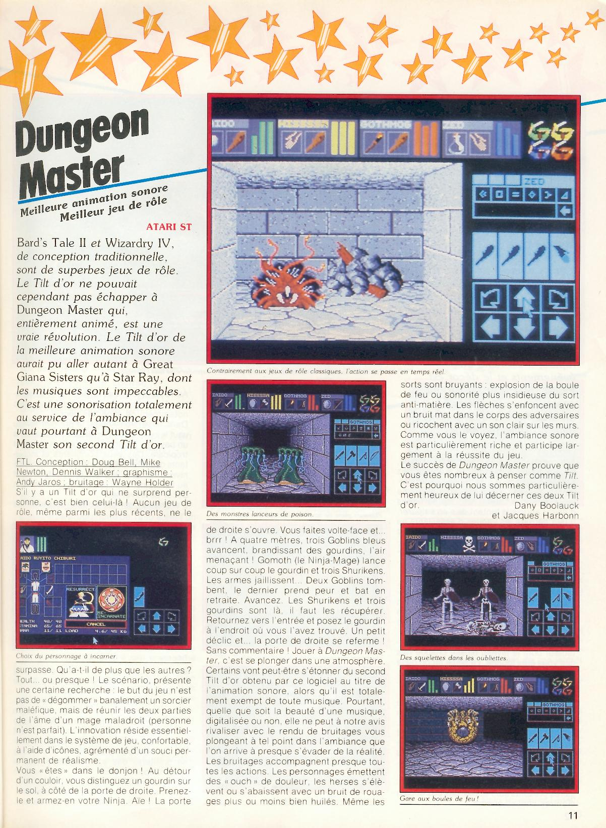 Dungeon Master for Atari ST Article published in French magazine 'Tilt', Issue #60 December 1988, Page 11