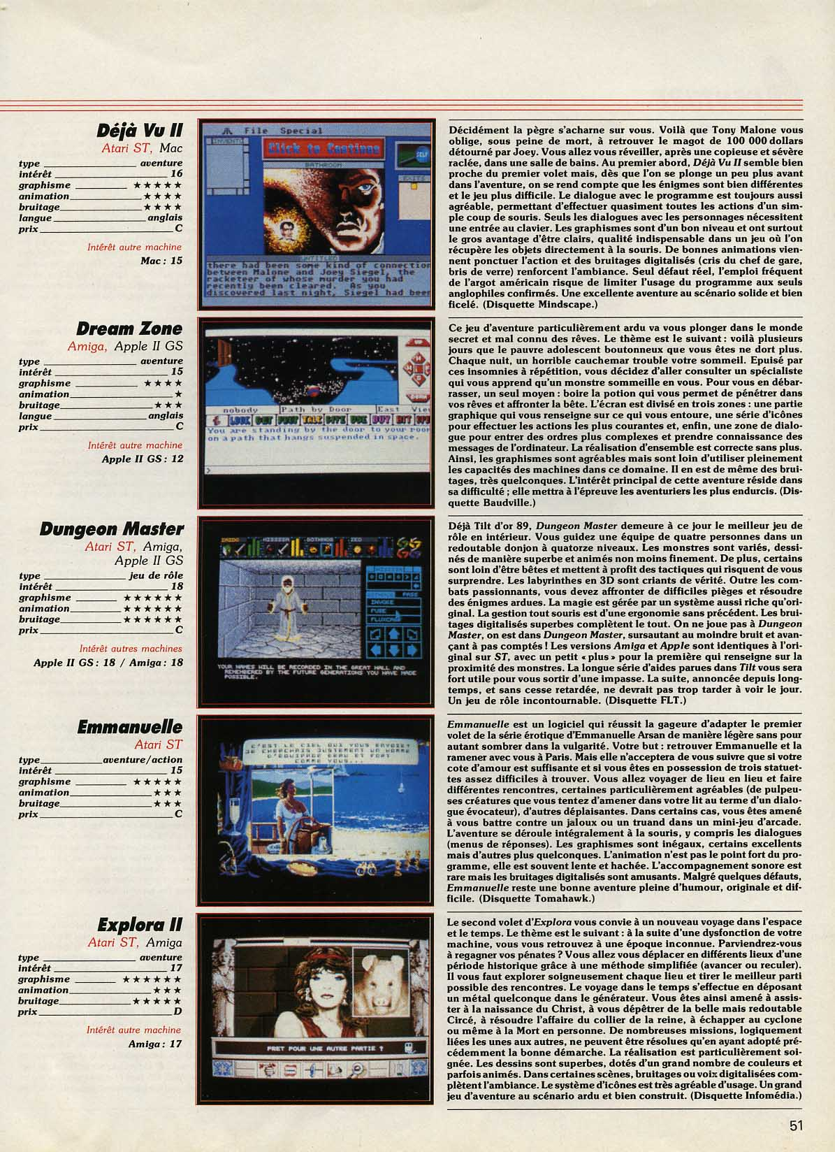 Dungeon Master for Atari ST-Amiga-Apple IIGS Review published in French magazine 'Tilt', Issue #72 November 1989, Page 51