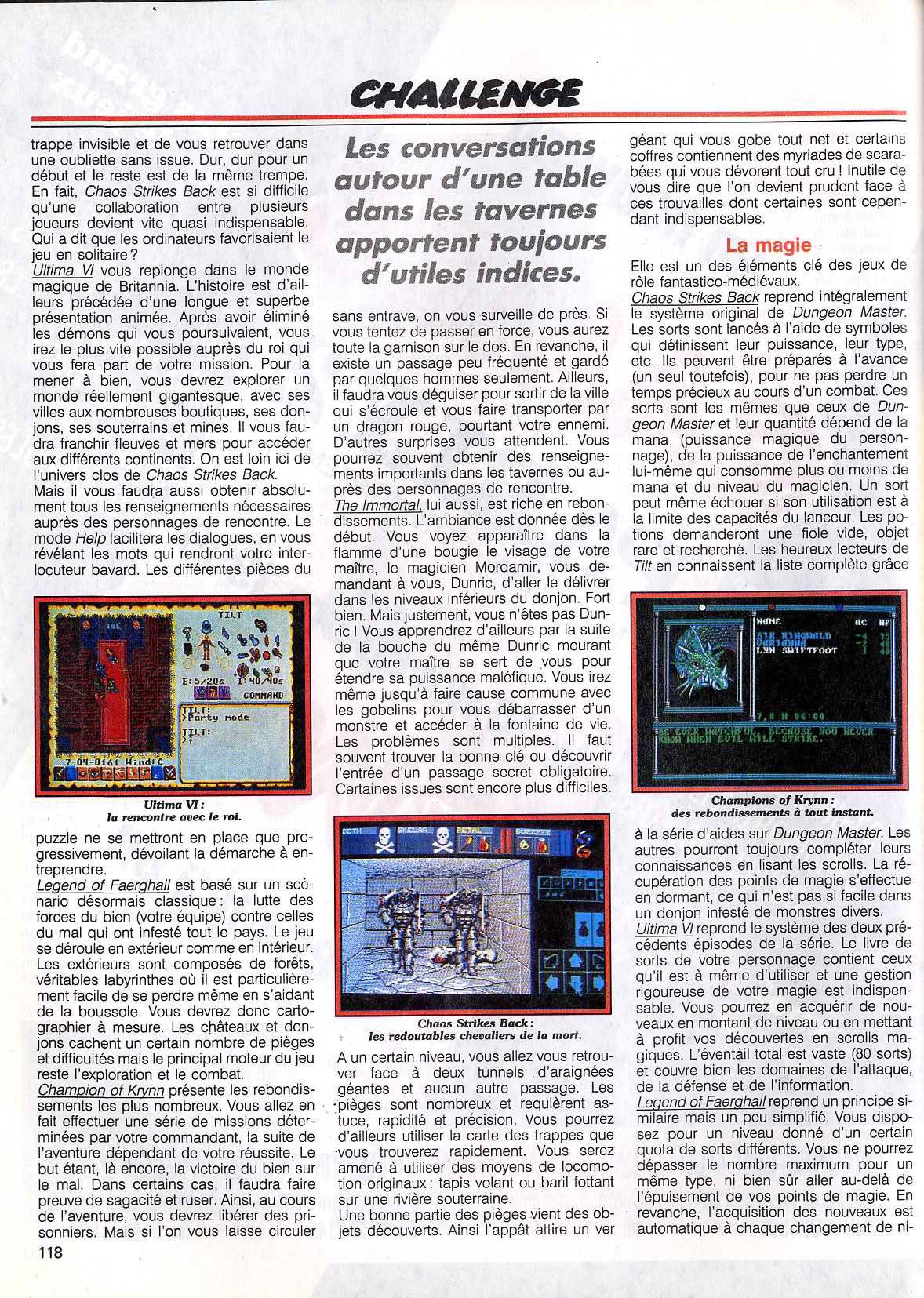 Chaos Strikes Back Article published in French magazine 'Tilt', Issue #83 November 1990, Page 118