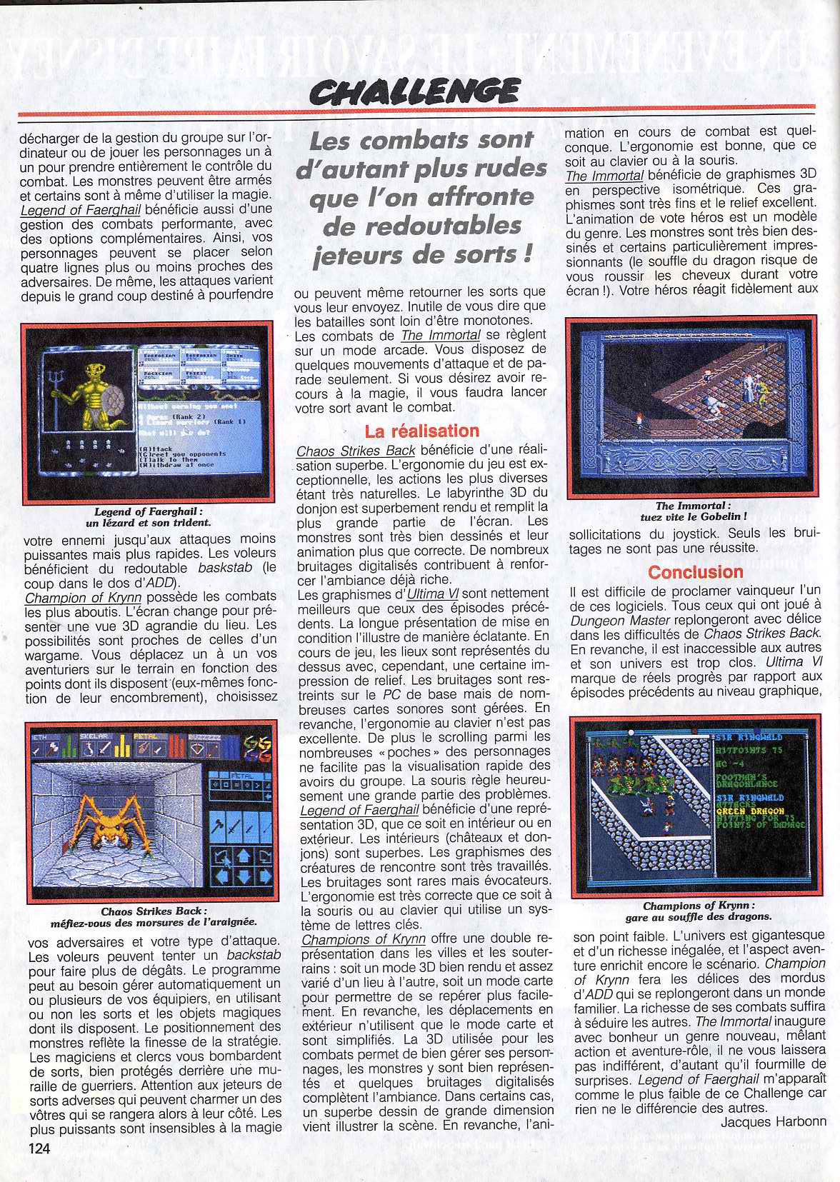 Chaos Strikes Back Article published in French magazine 'Tilt', Issue #83 November 1990, Page 124