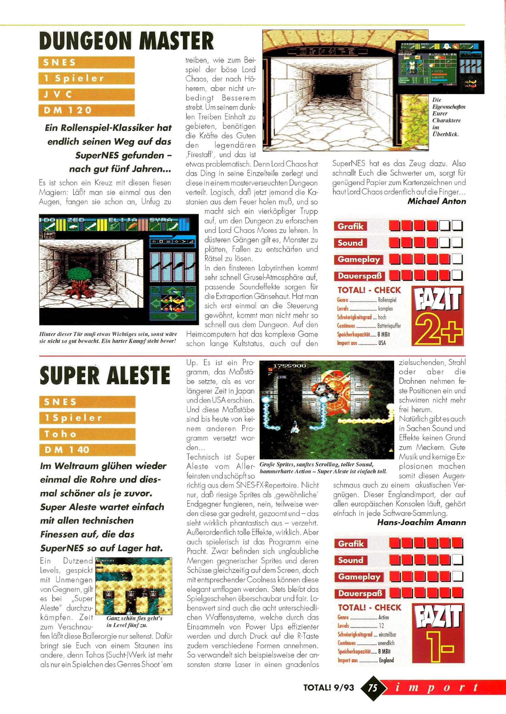 Dungeon Master for Super NES Review published in German magazine 'Total!', October 1993, Page 75