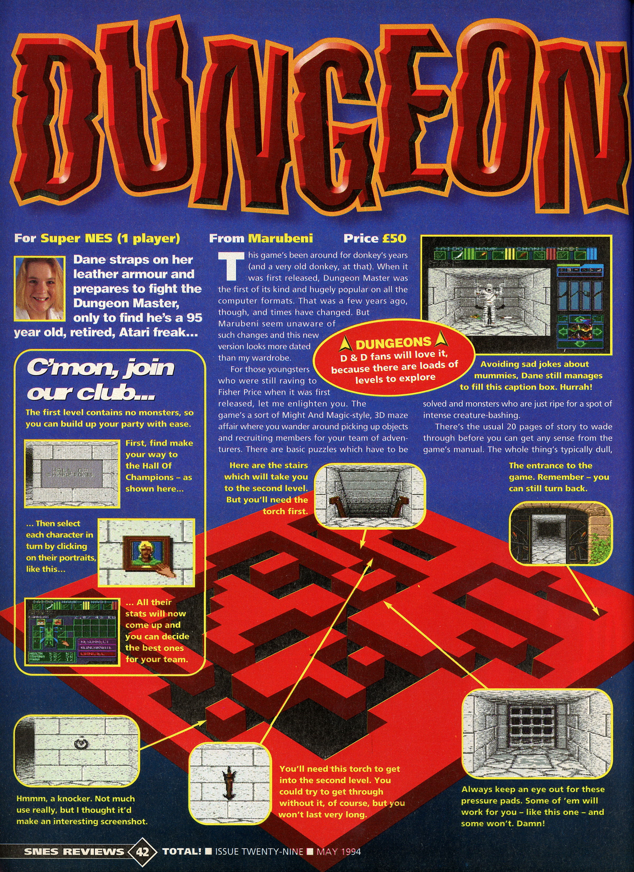 Dungeon Master for Super NES Review published in British magazine 'Total!', Issue #29 May 1994, Page 42