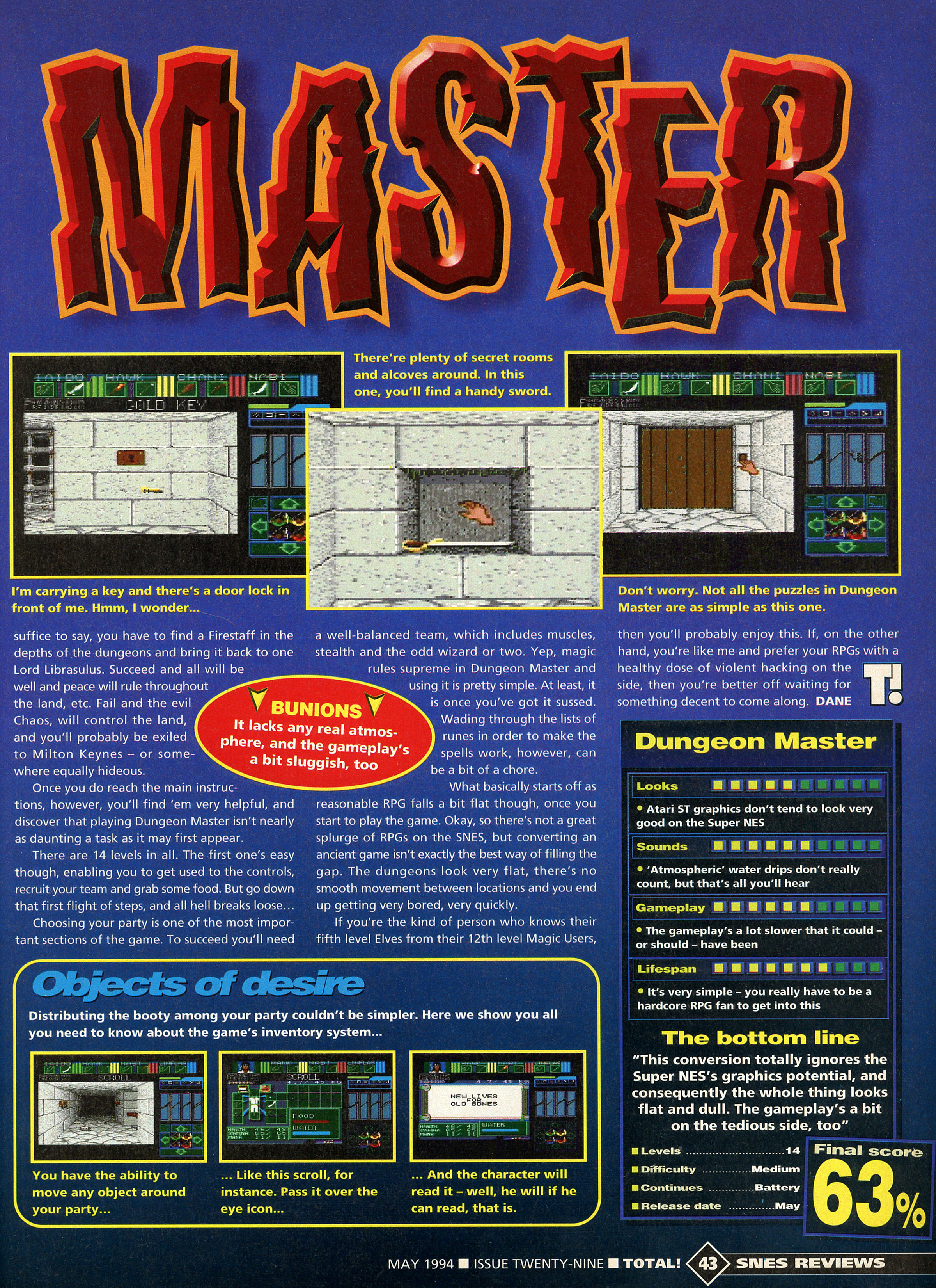 Dungeon Master for Super NES Review published in British magazine 'Total!', Issue #29 May 1994, Page 43