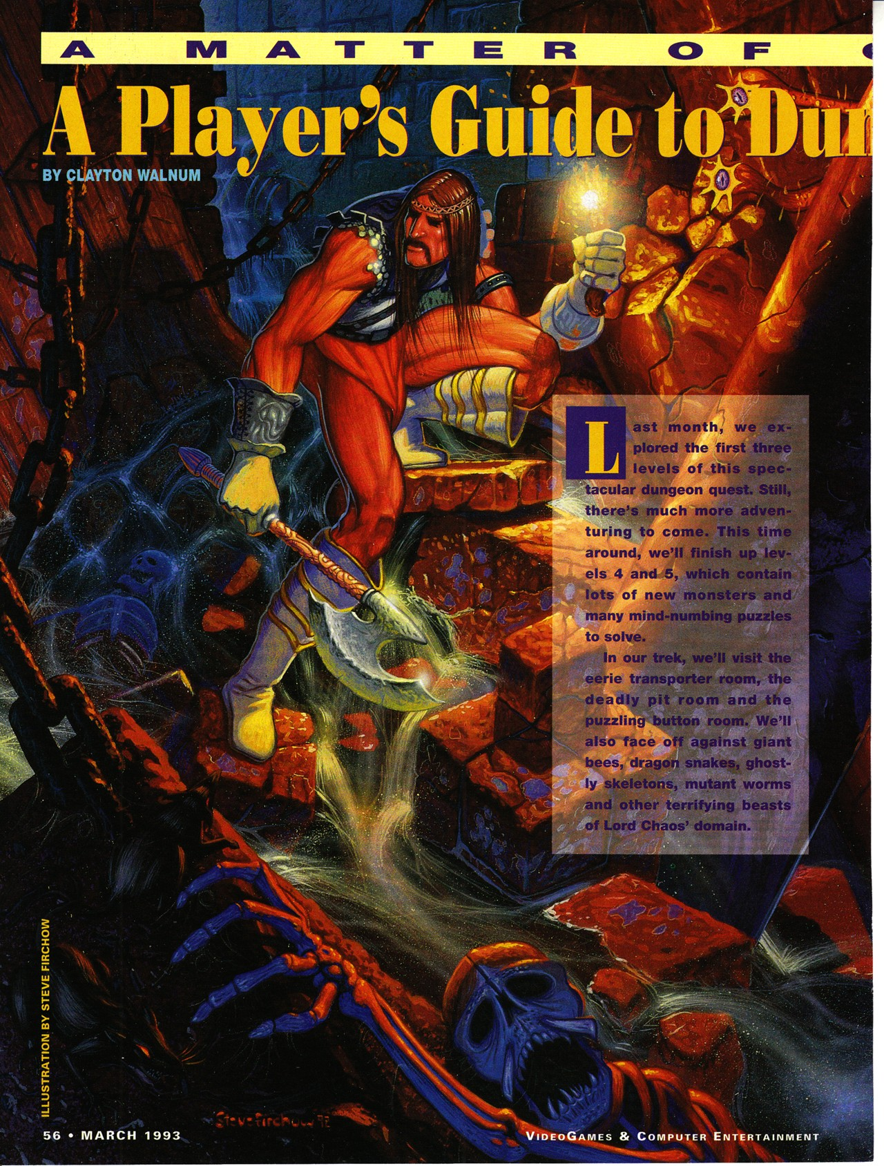 Dungeon Master for Super NES Guide published in American magazine 'VideoGames And Computer Entertainment', Issue #50 March 1993, Page 56