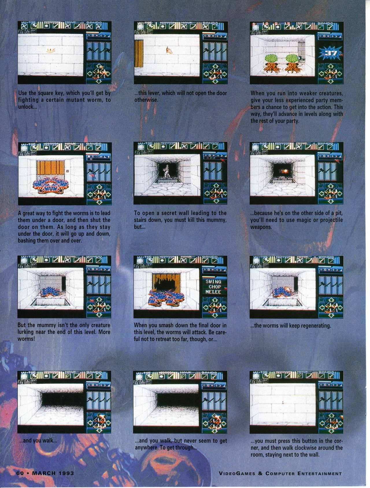 Dungeon Master for Super NES Guide published in American magazine 'VideoGames And Computer Entertainment', Issue #50 March 1993, Page 60