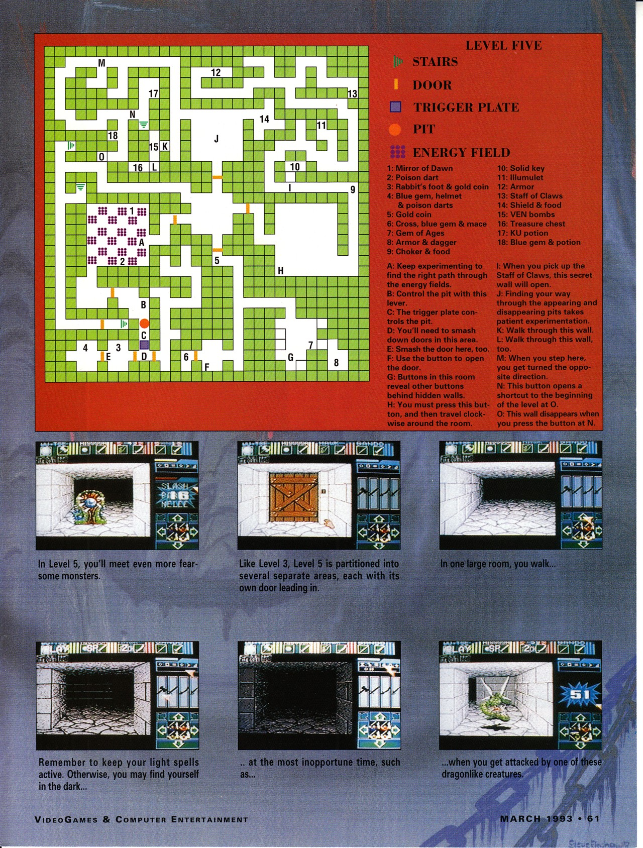 Dungeon Master for Super NES Guide published in American magazine 'VideoGames And Computer Entertainment', Issue #50 March 1993, Page 61