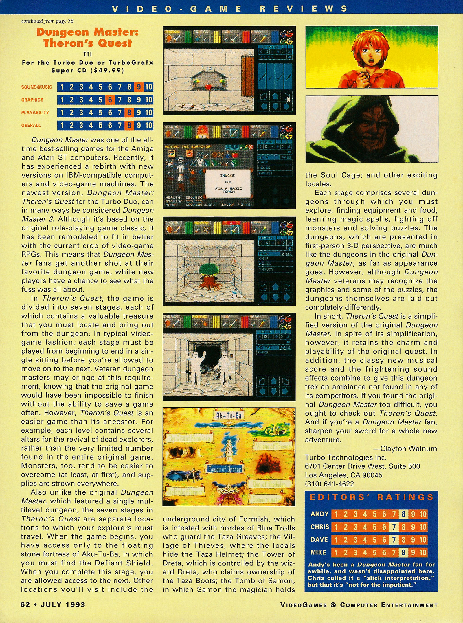 Theron's Quest for Turbografx Review published in American magazine 'VideoGames And Computer Entertainment', Issue #54 July 1993, Page 62