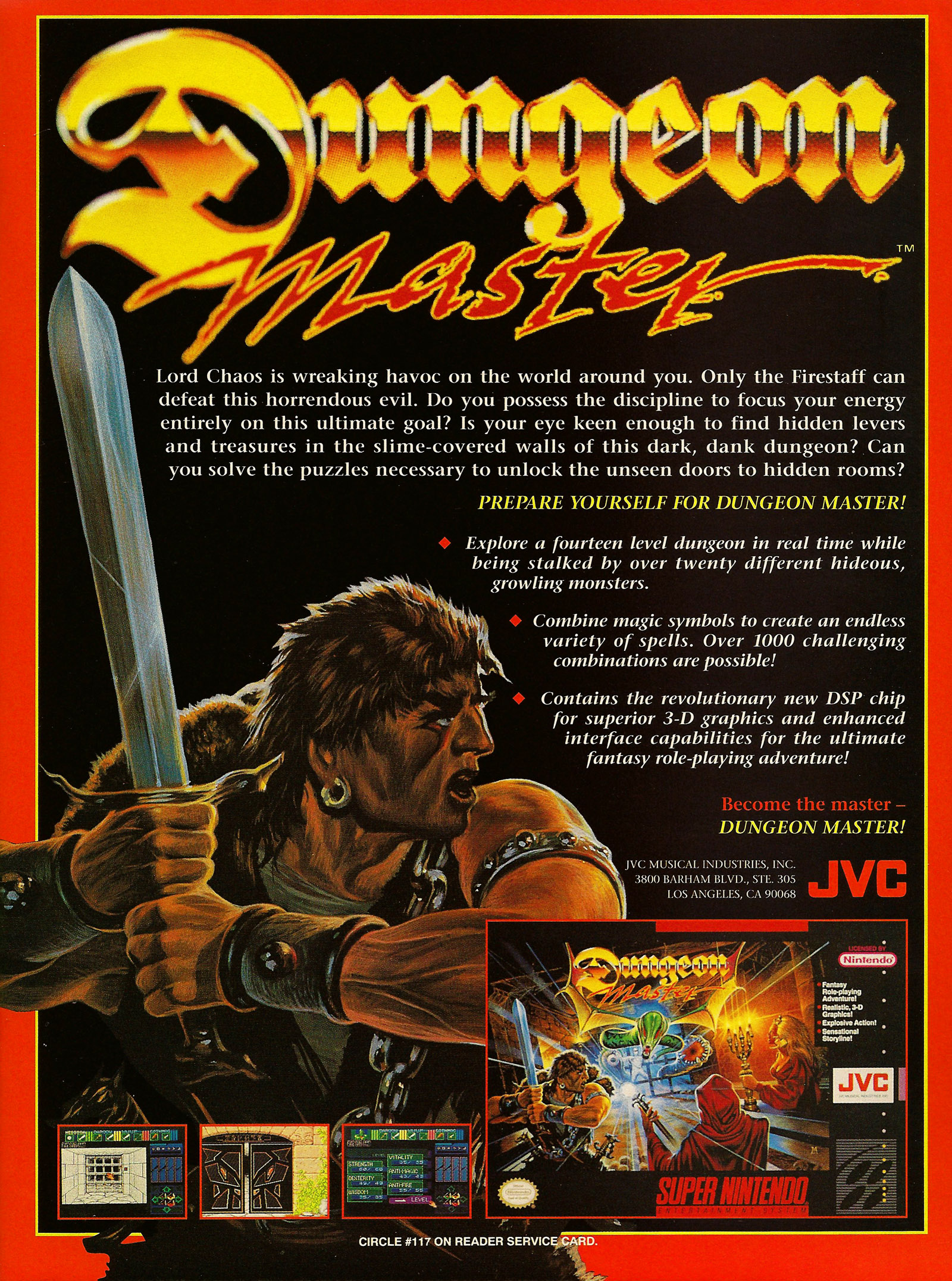 Dungeon Master for Super NES Advertisement published in American magazine 'VideoGames And Computer Entertainment', Issue #55 August 1993, Page 69
