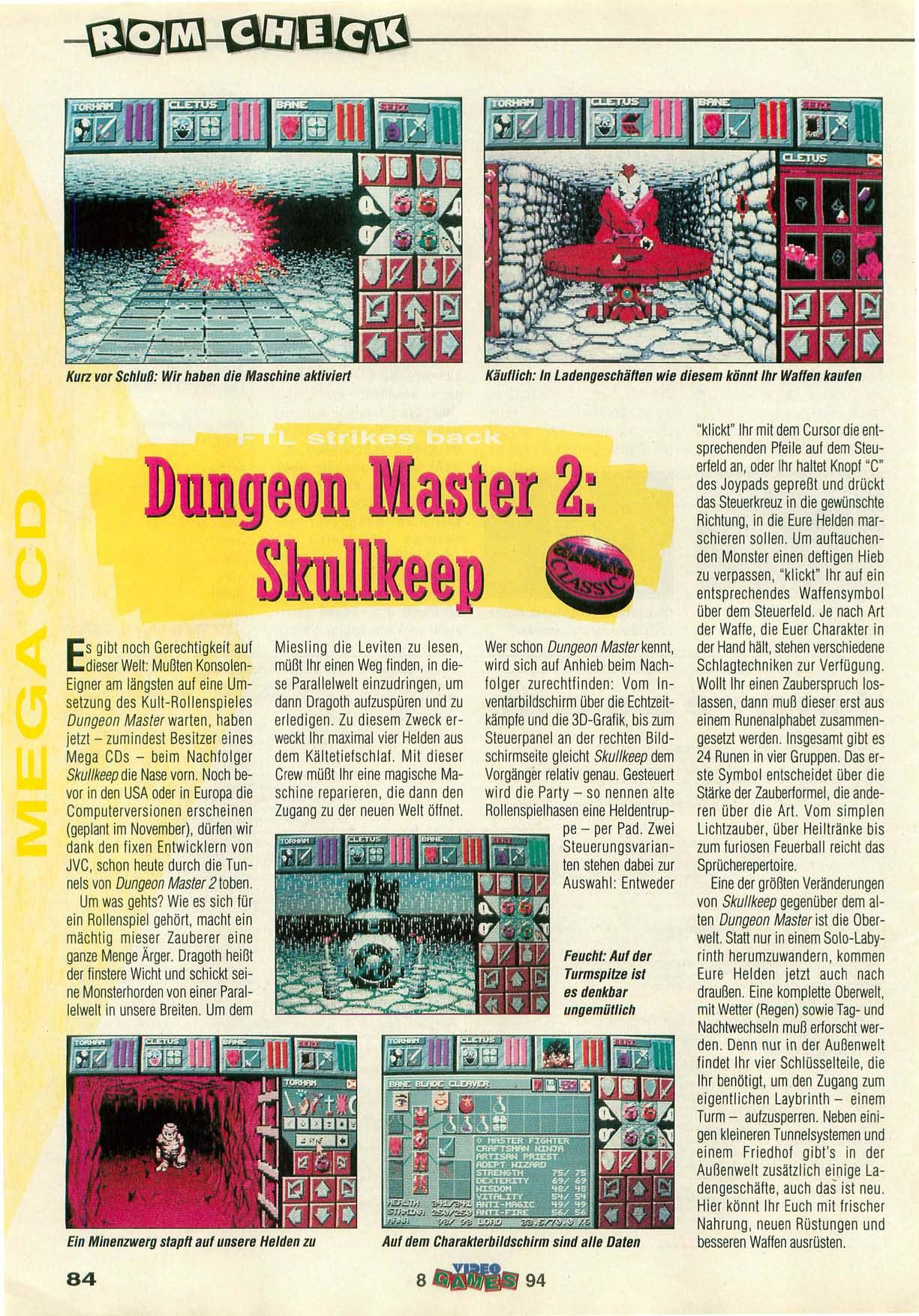 Dungeon Master II for Mega CD Review published in German magazine 'VideoGames', August 1994, Page 84