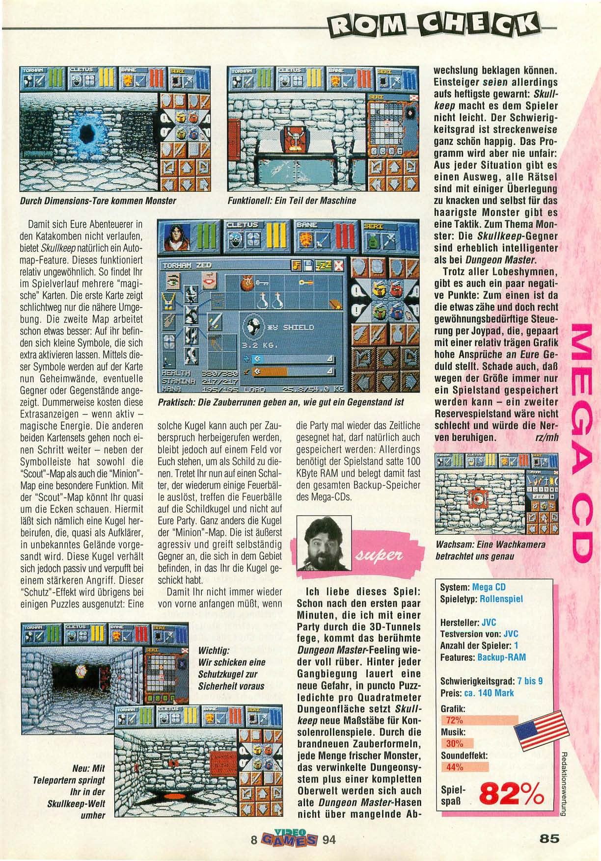 Dungeon Master II for Mega CD Review published in German magazine 'VideoGames', August 1994, Page 85