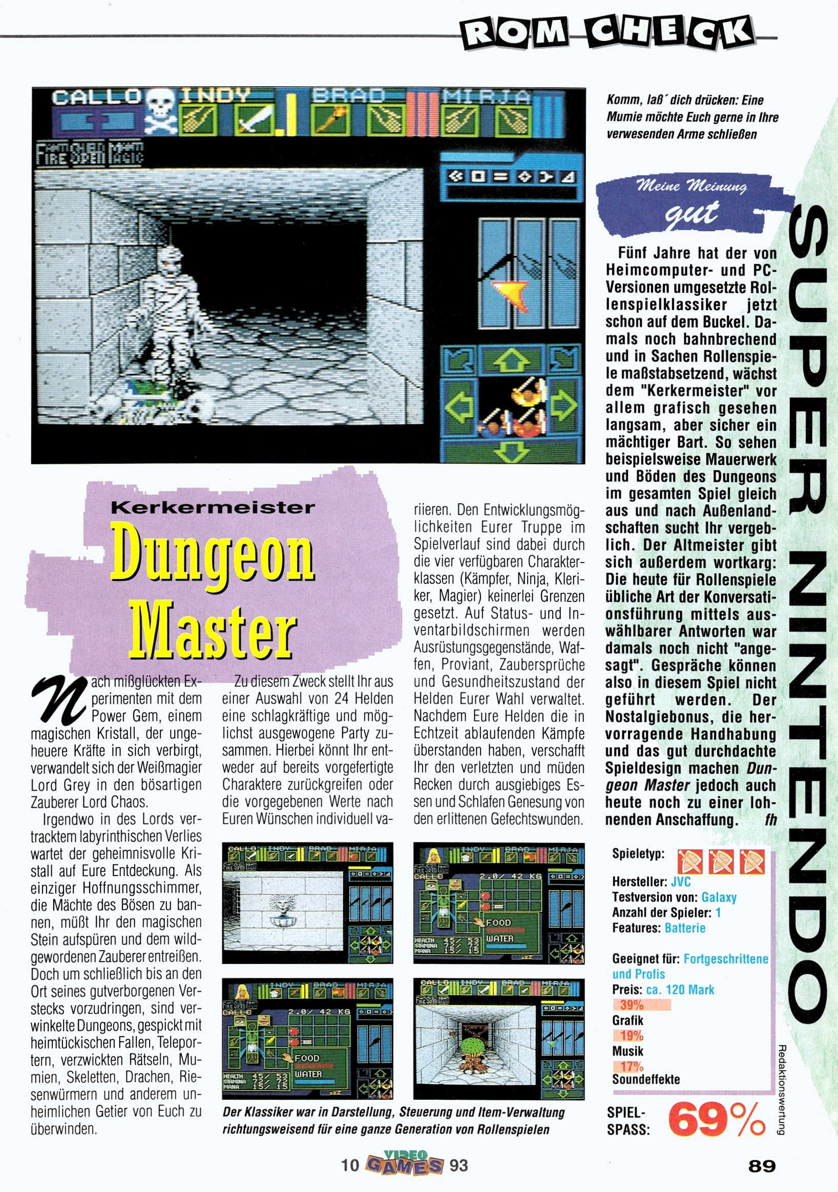 Dungeon Master for Super NES Review published in German magazine 'VideoGames', October 1993, Page 89