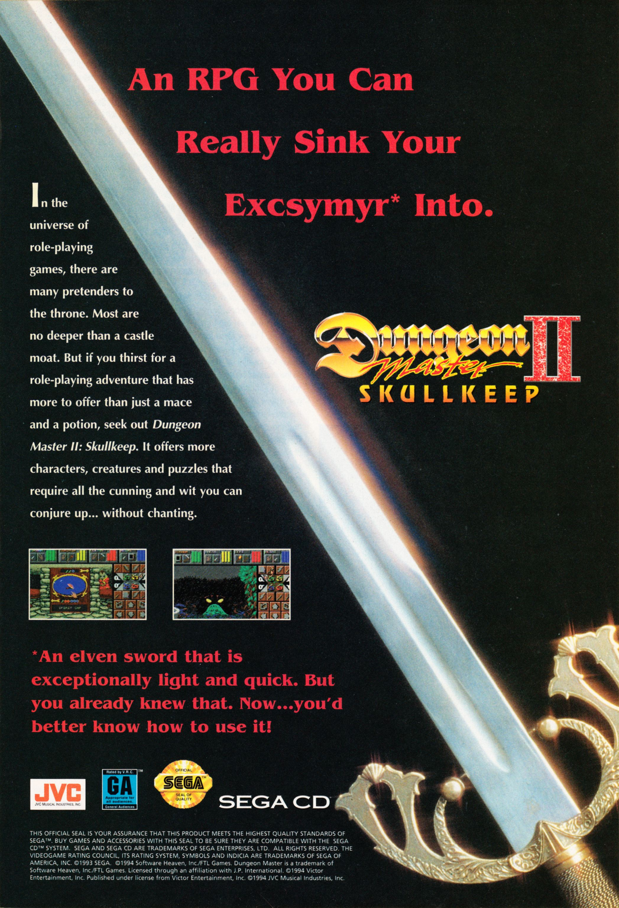 Dungeon Master II for Sega CD Advertisement published in American magazine 'Wizard Magazine', Issue #38 October 1994, Page 29