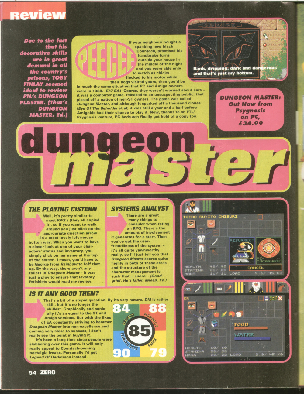 Dungeon Master for PC Review published in British magazine 'Zero', Issue #36 October 1992, Page 54